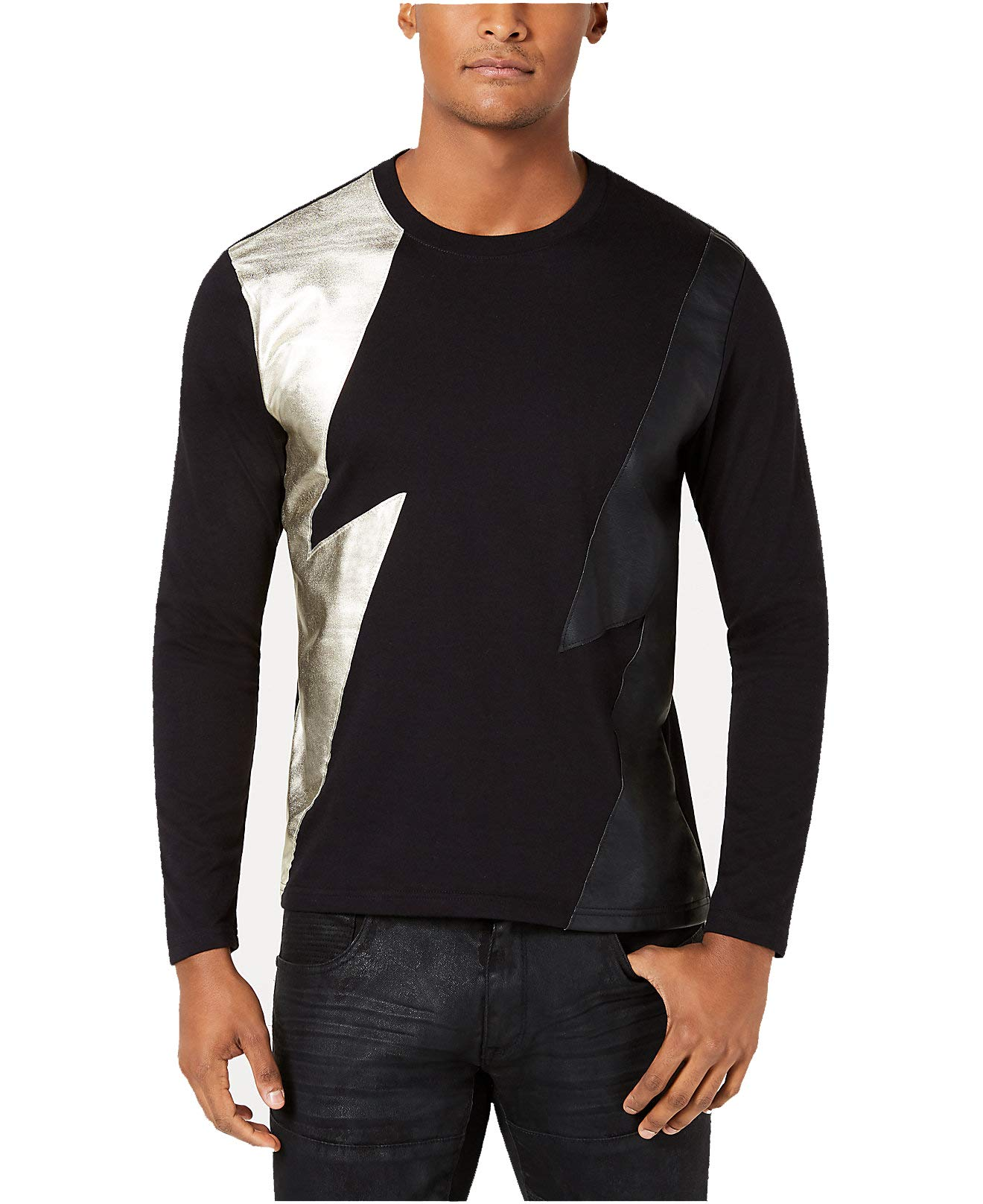 INC-NEW-Black-Mens-Size-Small-S-Long-Sleeve-Lightning-Tee-Shirt