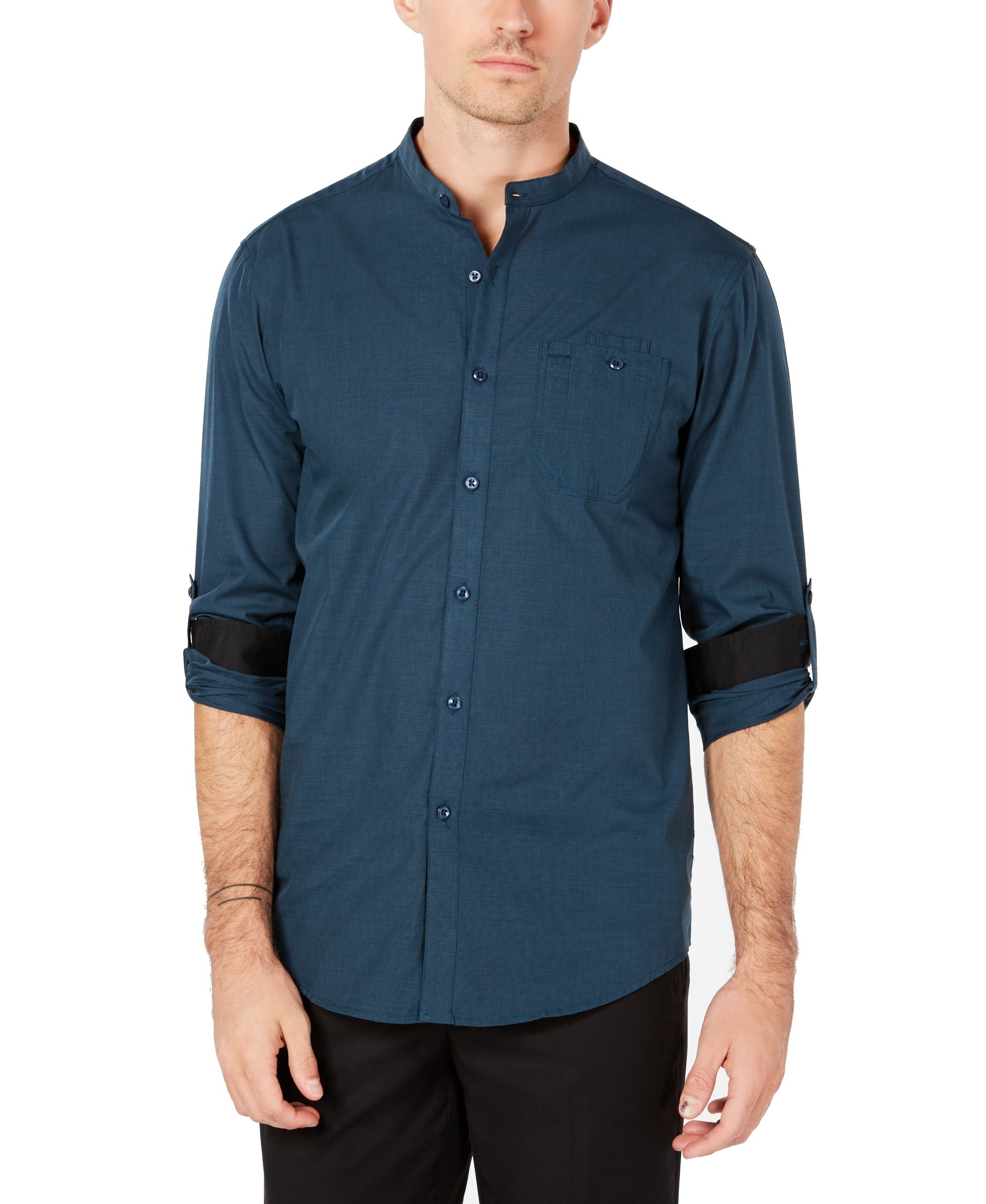 INC-NEW-Peacock-Green-Mens-Size-XS-Striped-Roll-Tab-Banded-Collar-Shirt