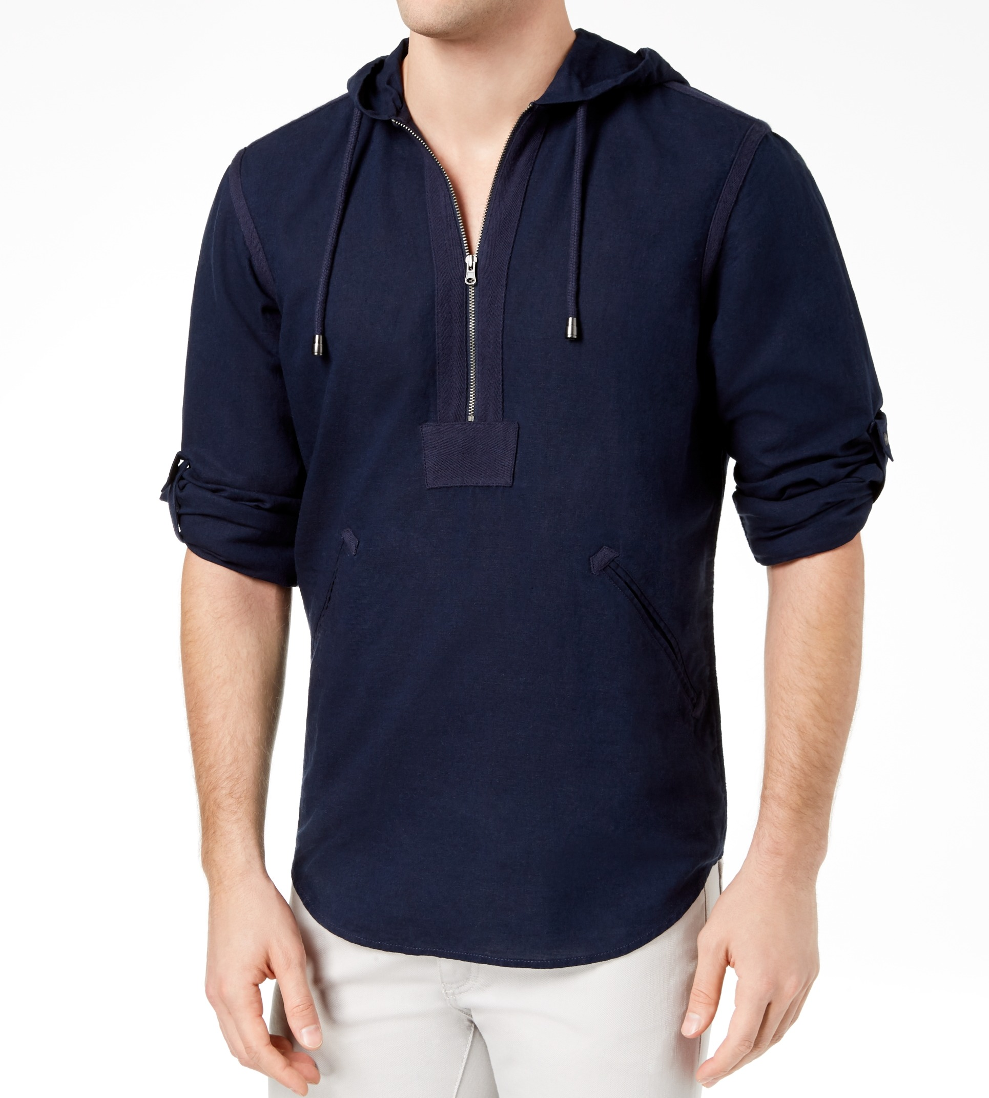 INC-NEW-Blue-Mens-Size-XL-Casual-Linen-Quarter-Zip-Shibui-Hoodie-Shirt