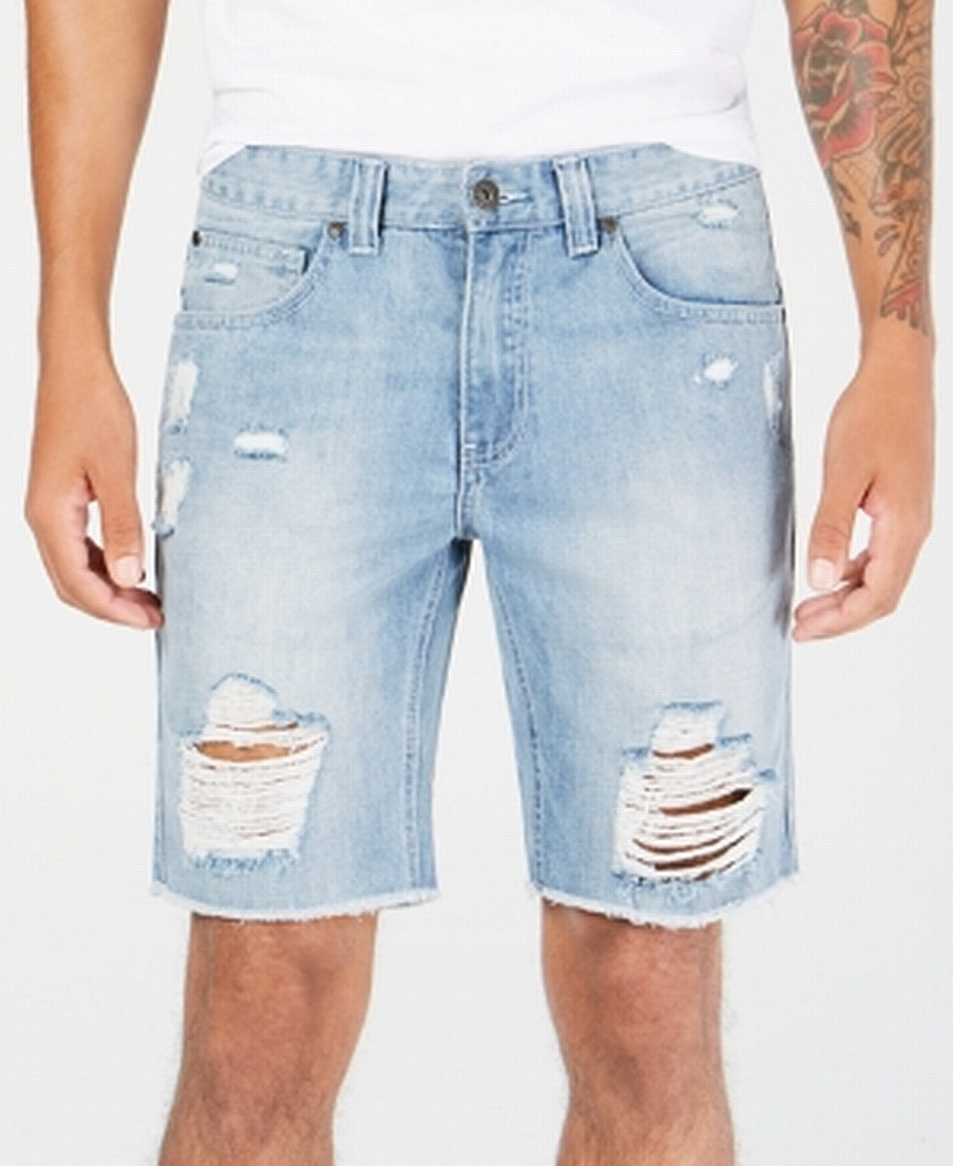 INC-NEW-Light-Wash-Blue-Mens-33-Ripped-Distressed-Cut-Off-Denim-Shorts thumbnail 1