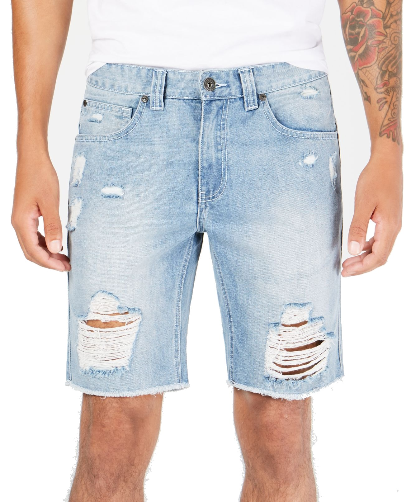 INC-NEW-Blue-Mens-Size-34-Ripped-Regular-Fit-Light-Wash-Denim-Shorts