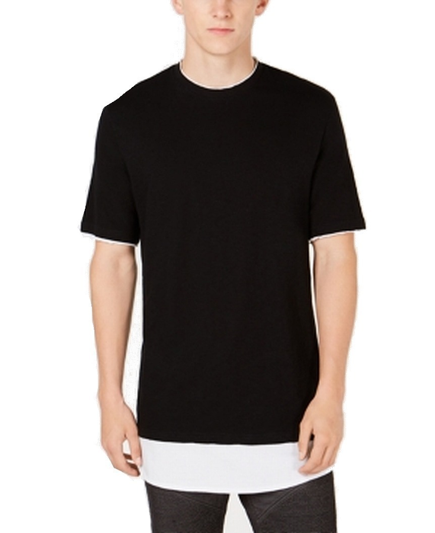 INC-NEW-Black-Mens-Size-Large-L-Layered-Look-Long-Line-Tee-T-Shirt