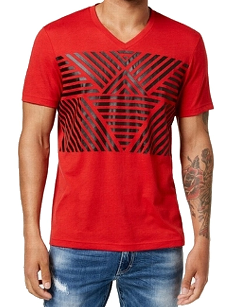 INC-NEW-Licorice-Red-Mens-Size-2XL-Stripe-V-Neck-Graphic-Tee-T-Shirt
