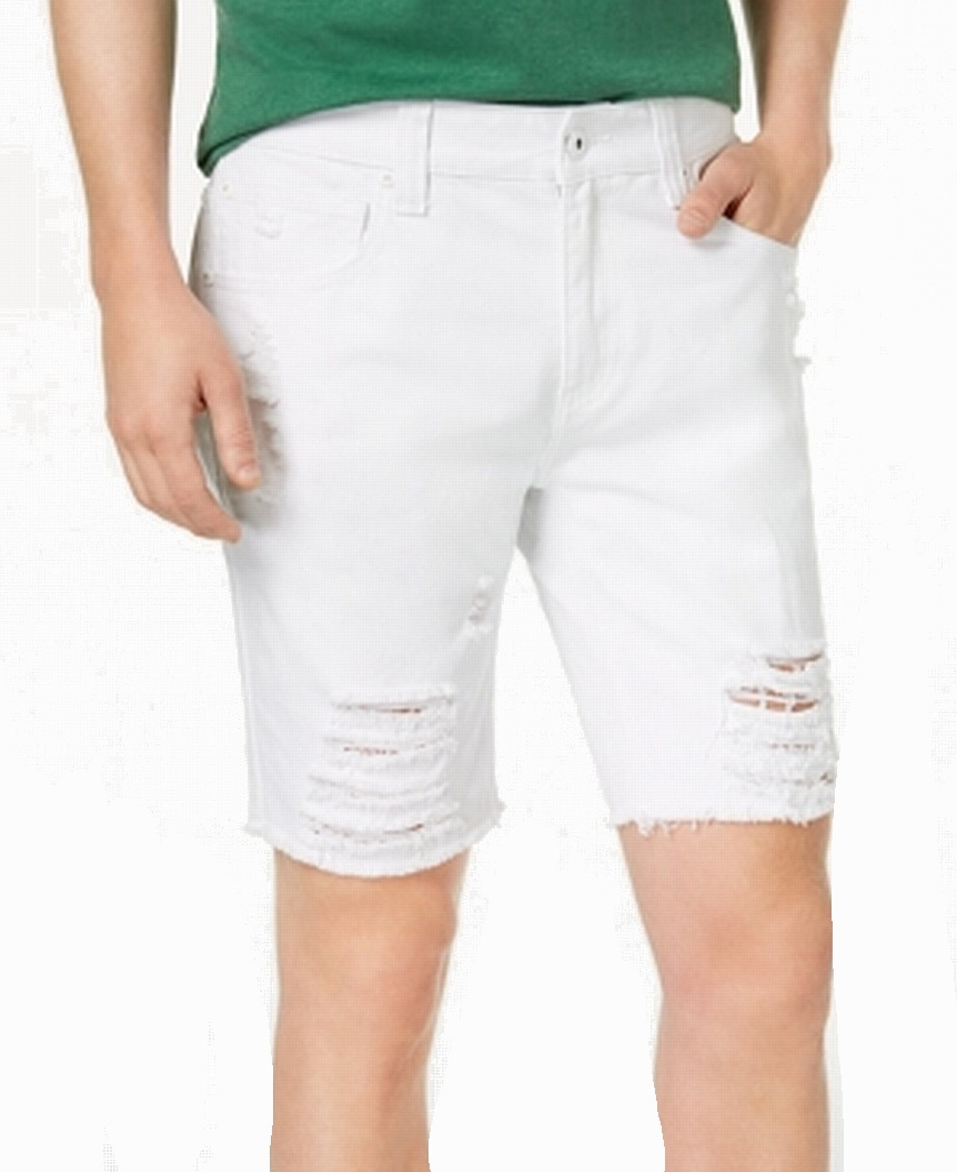 INC-NEW-White-Mens-Size-33-Distressed-Regular-Fit-Solid-Denim-Shorts