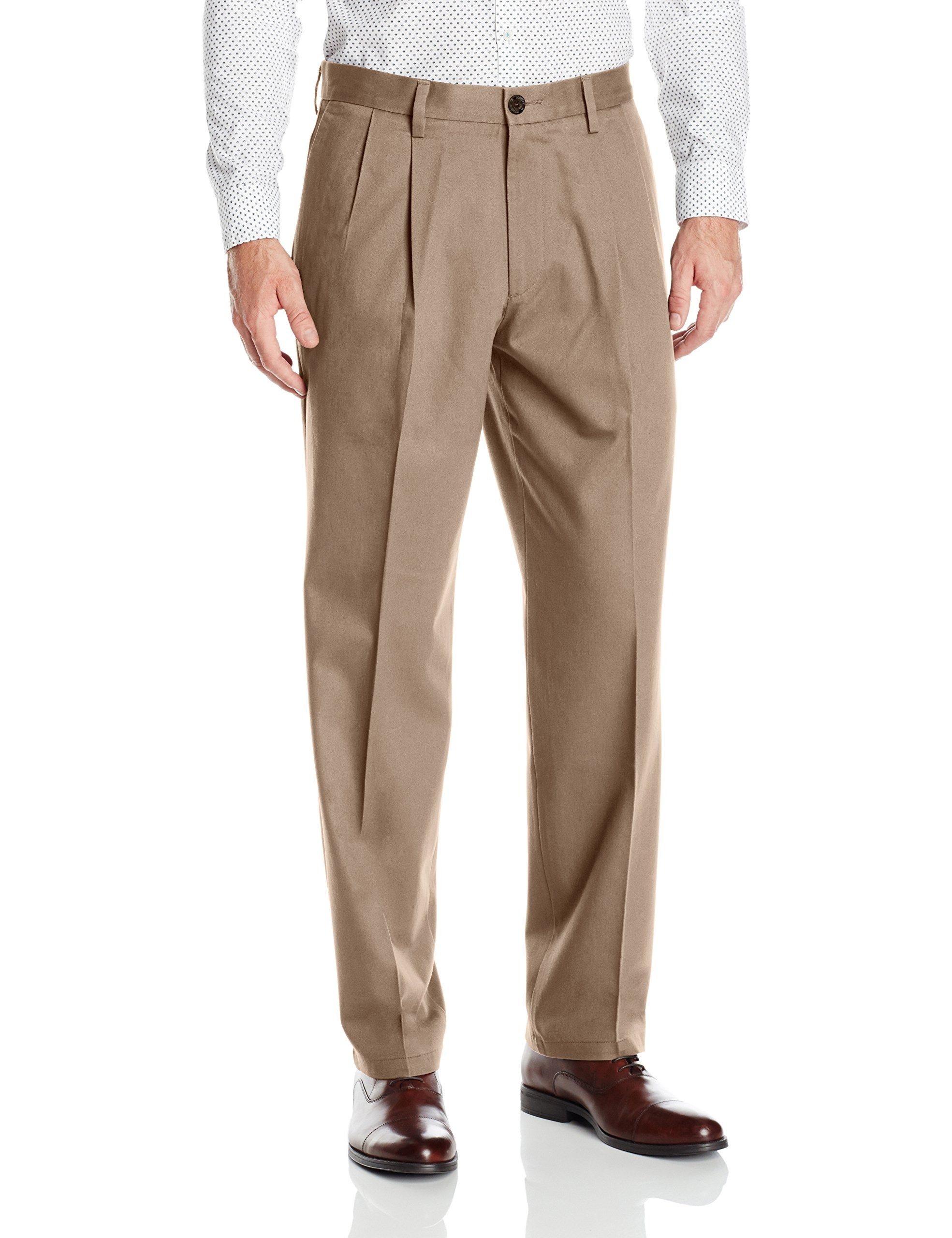 Dockers-NEW-Beige-Mens-Size-38X30-Pleated-Khakis-Chinos-Stretch-Pants