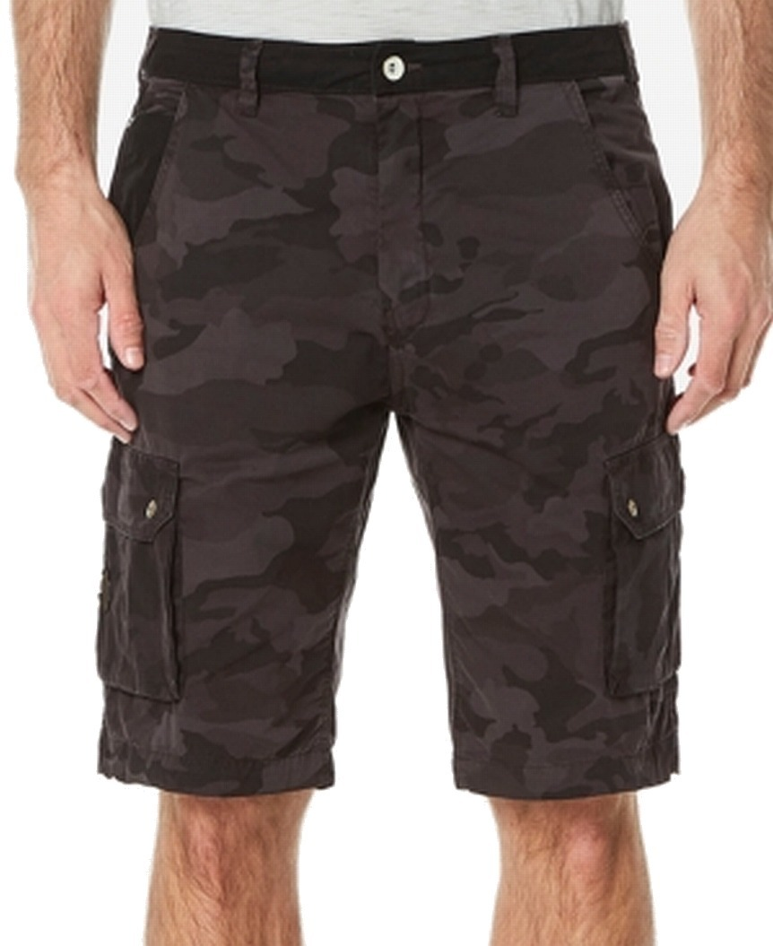 New-Buffalo-David-Bitton-Mens-Black-Size-32-Camo-Print-Cargo-Shorts-69-164