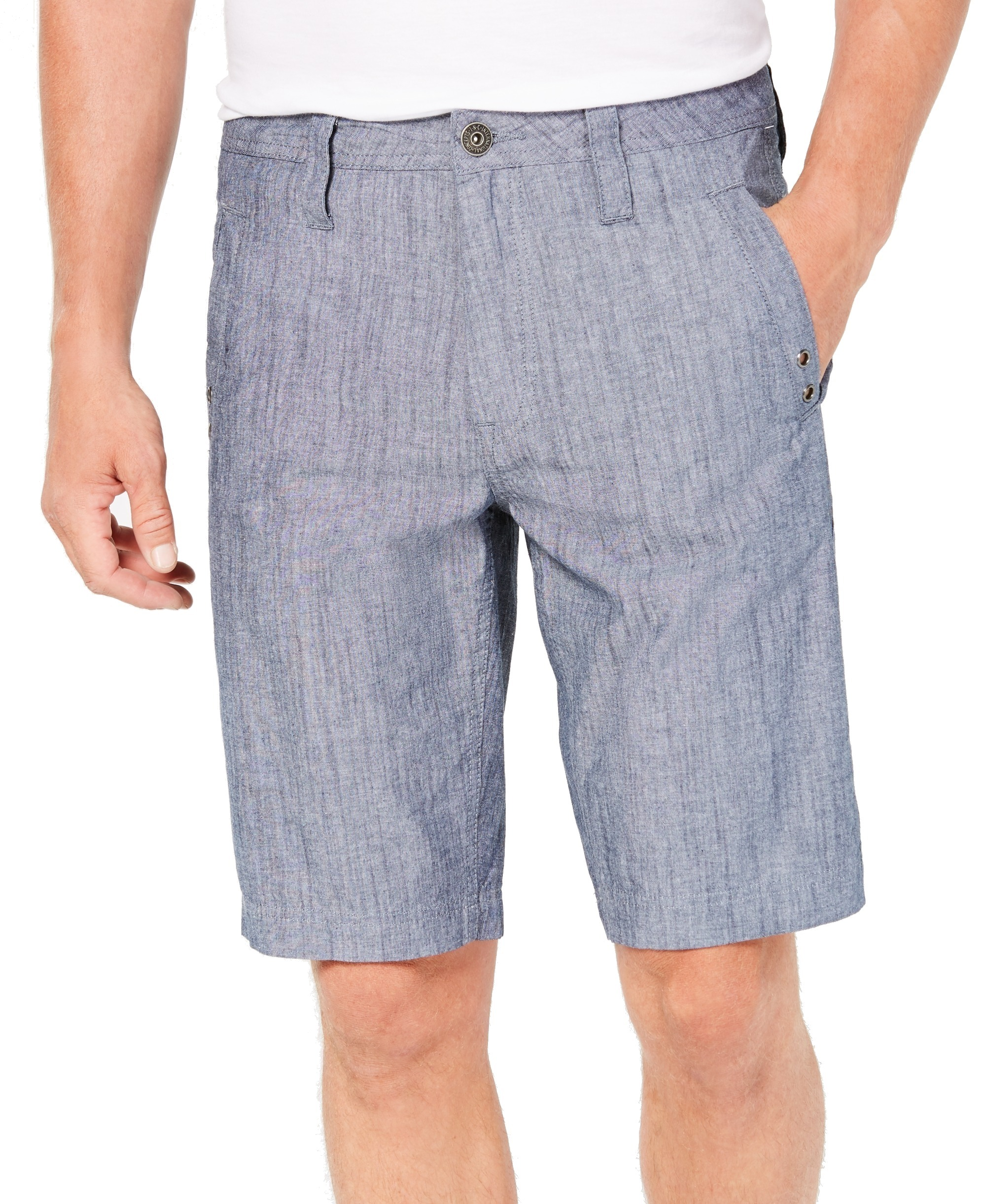 INC-NEW-Chambray-Navy-Blue-Mens-Size-33-Regular-Fit-Flat-Front-Shorts-49-208
