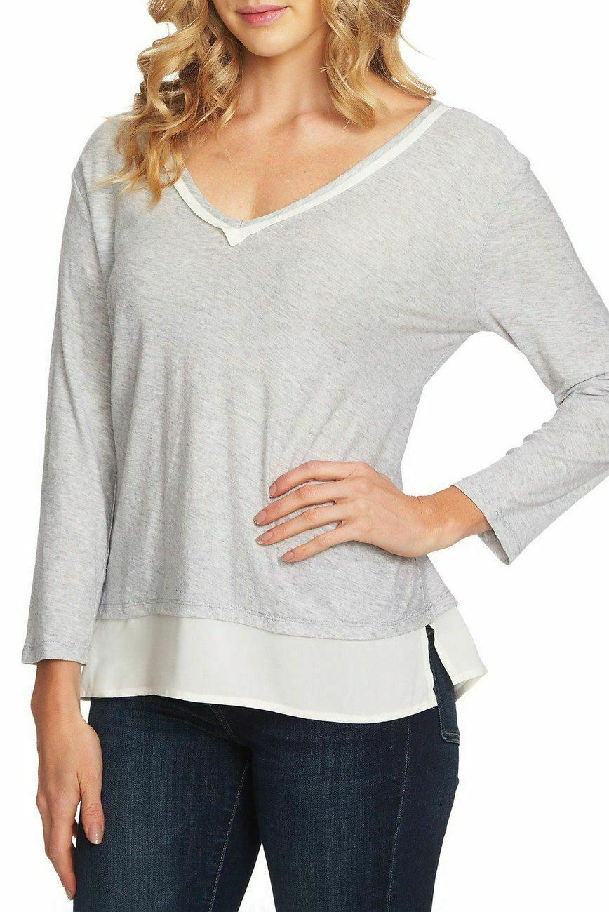 Vince-Camuto-Women-039-s-Top-BLouse-Gray-Size-XS-Knit-Two-Fer-V-Neck