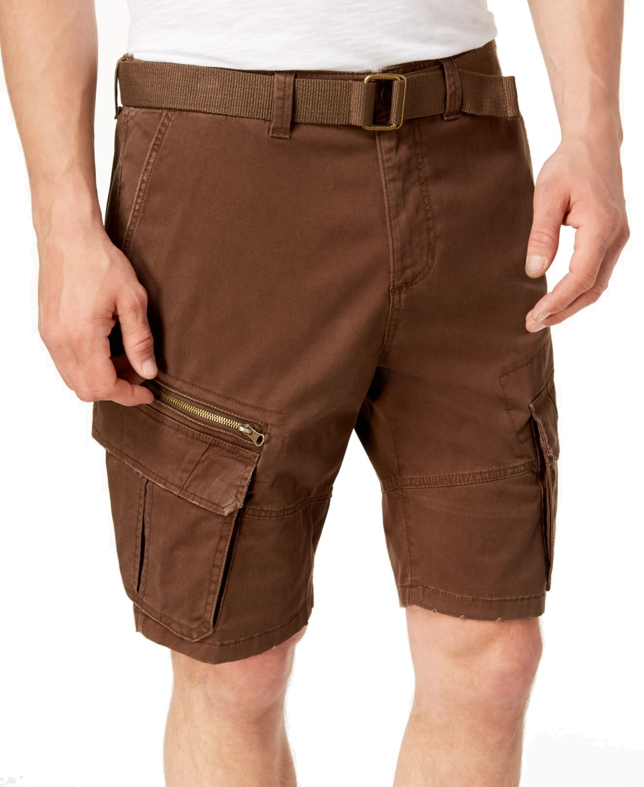 New-American-Rag-Mens-Brown-Bear-Size-29-Relaxed-Fit-Belted-Cargo-Shorts-40-429