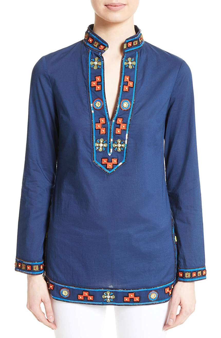 New-Tory-Burch-Women-039-s-Blouse-Top-Blue-Size-6-Tunic-Cotton-Sequin-Beaded-325