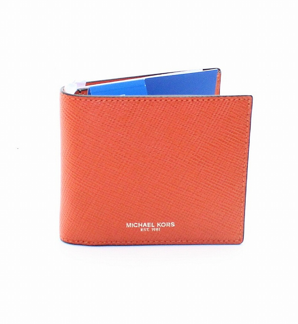 New-Michael-Kors-Men-039-s-Orange-Saffiano-Harrison-RFID-Billfold-Wallet-98-223