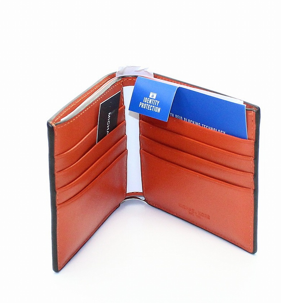 New-Michael-Kors-Men-039-s-Orange-Saffiano-Harrison-RFID-Billfold-Wallet-98-223 thumbnail 2