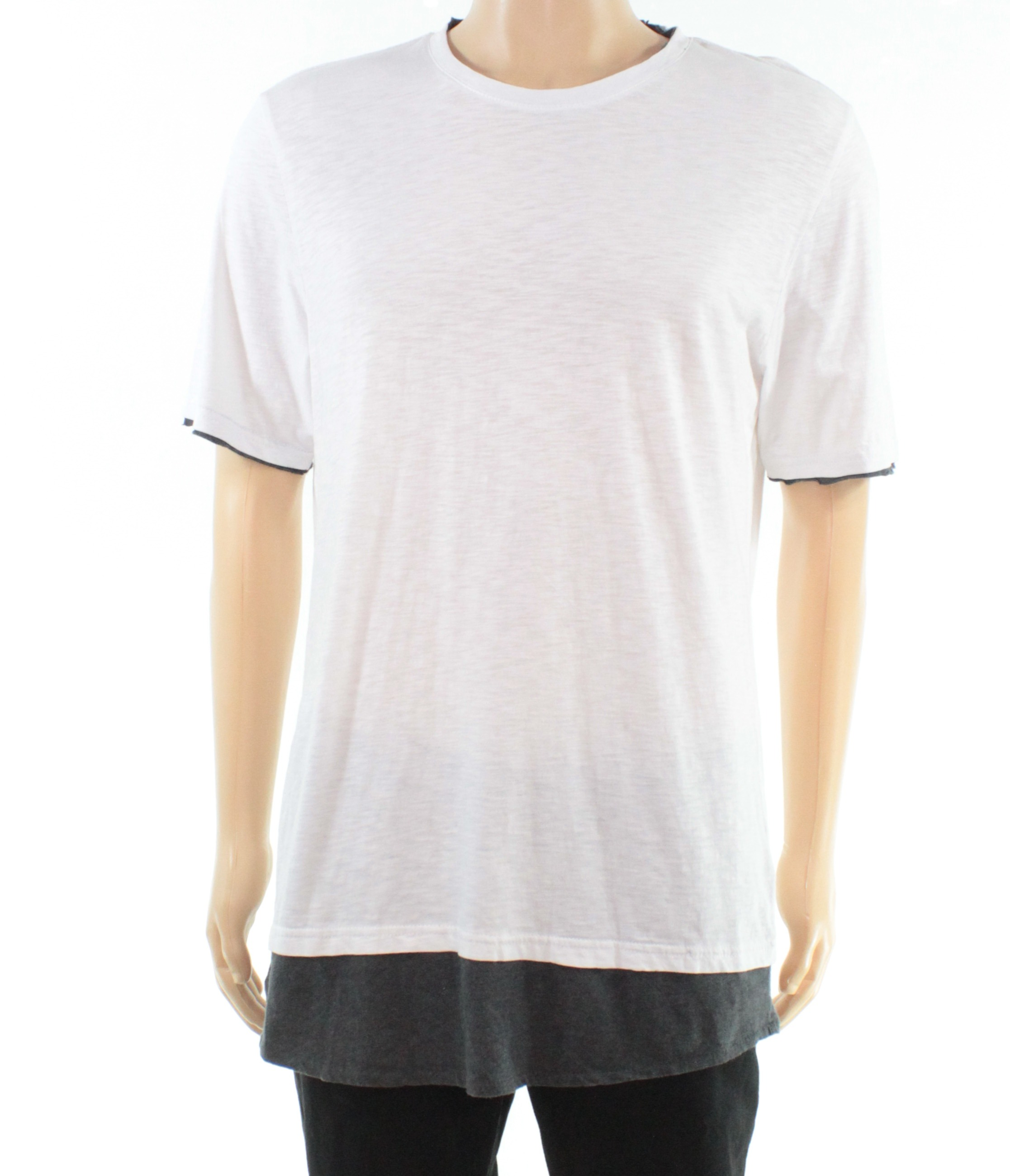 INC-Mens-Shirt-White-Gray-Size-Large-L-Longer-Length-Crewneck-Tee