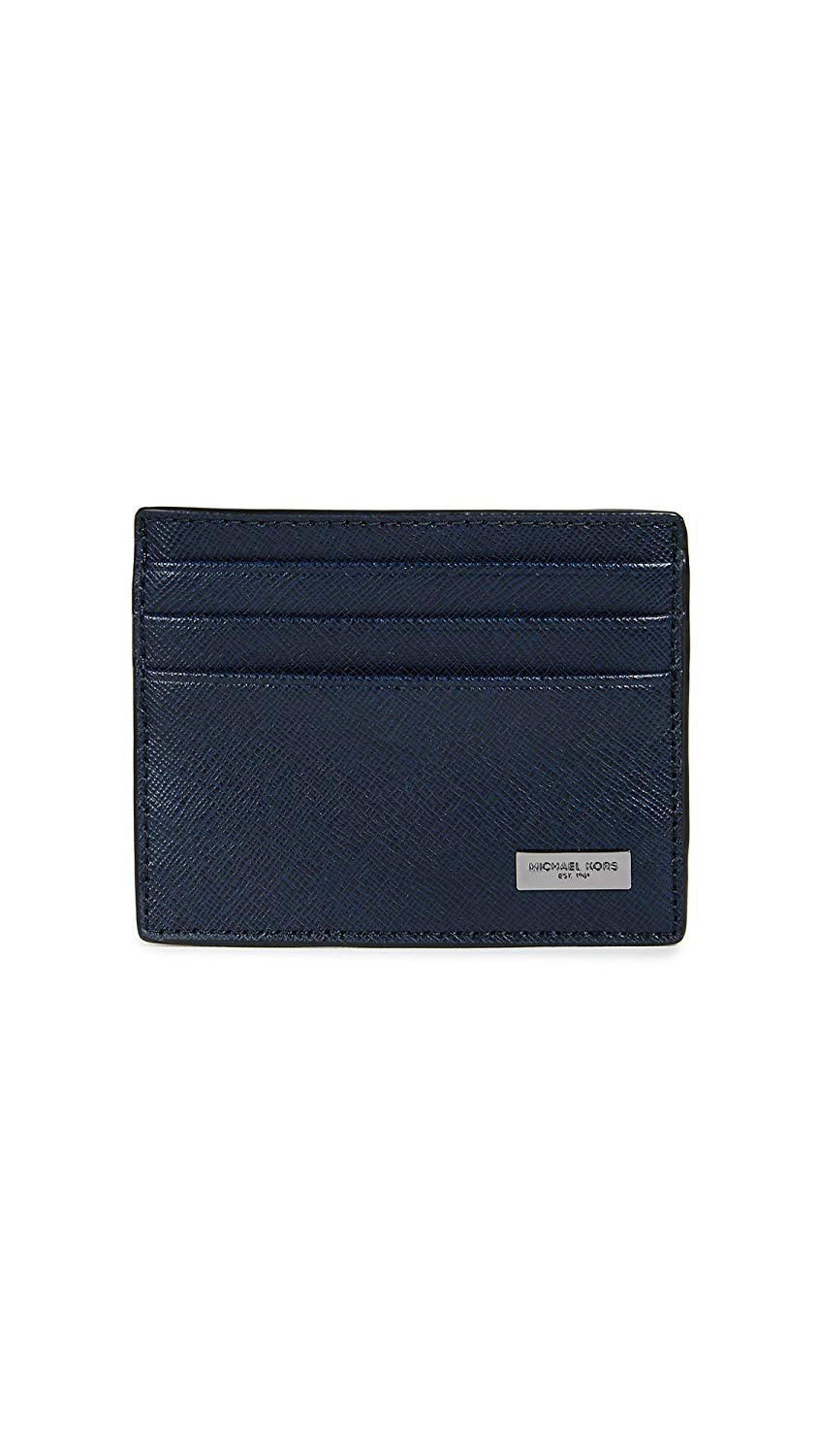 New-Michael-Kors-Men-039-s-Wallet-Navy-Blue-Saffiano-RFID-Leather-Card-Case-38-532