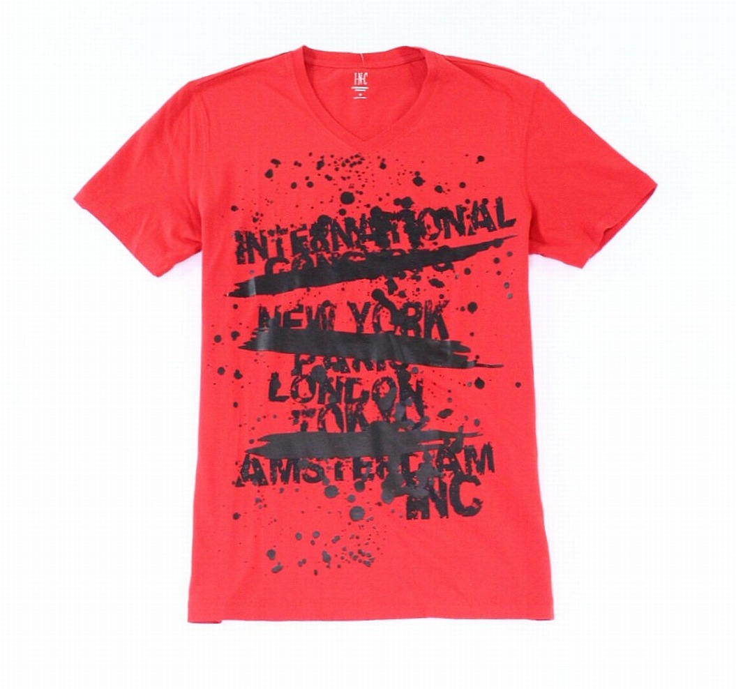 INC-Mens-Red-Size-3XL-City-Text-Graphic-V-Neck-Tee-Cotton-T-Shirt