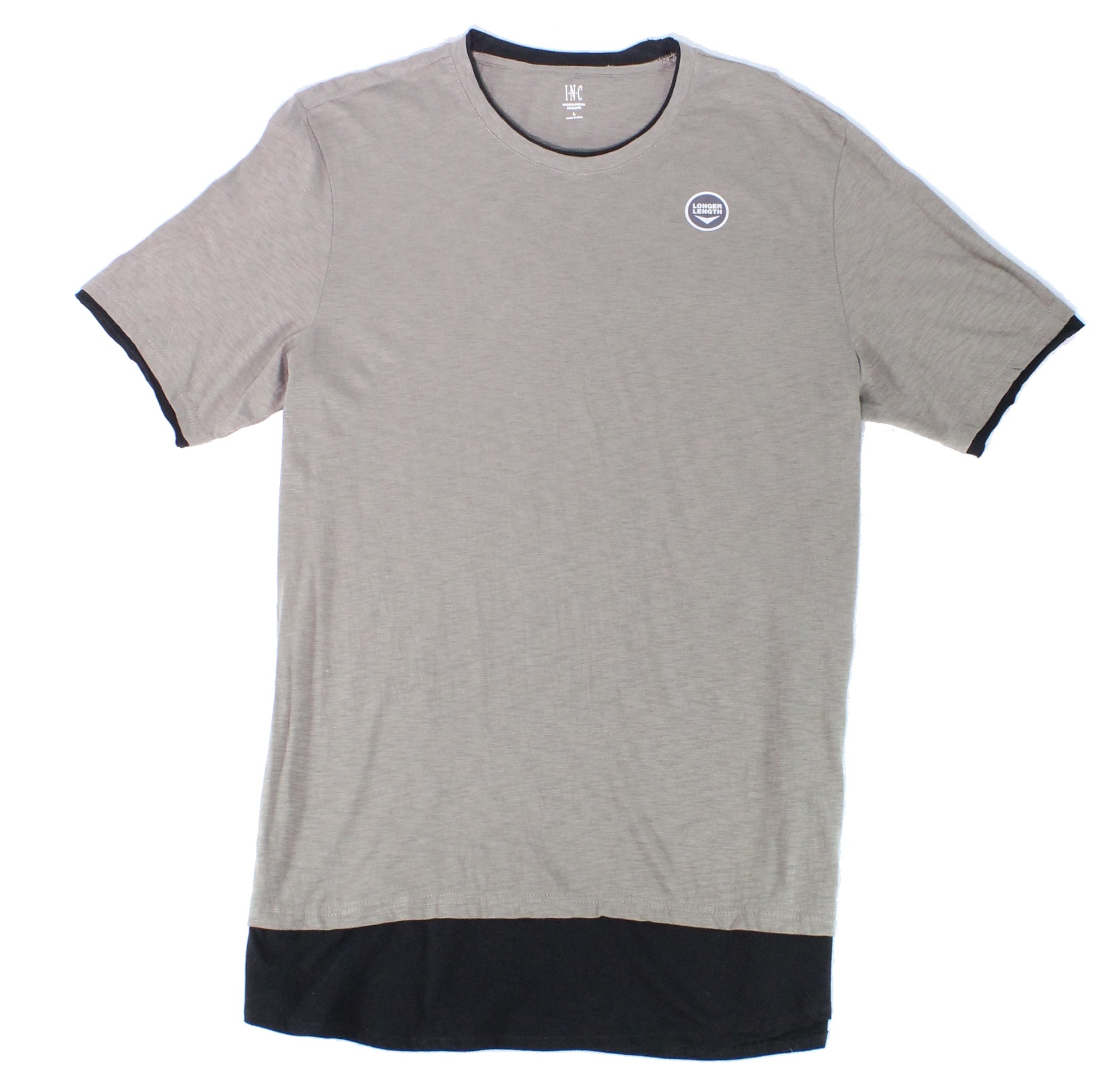 New-INC-Mens-Tee-Shirt-Taupe-Green-Black-Size-Large-L-Longer-Length-29-003