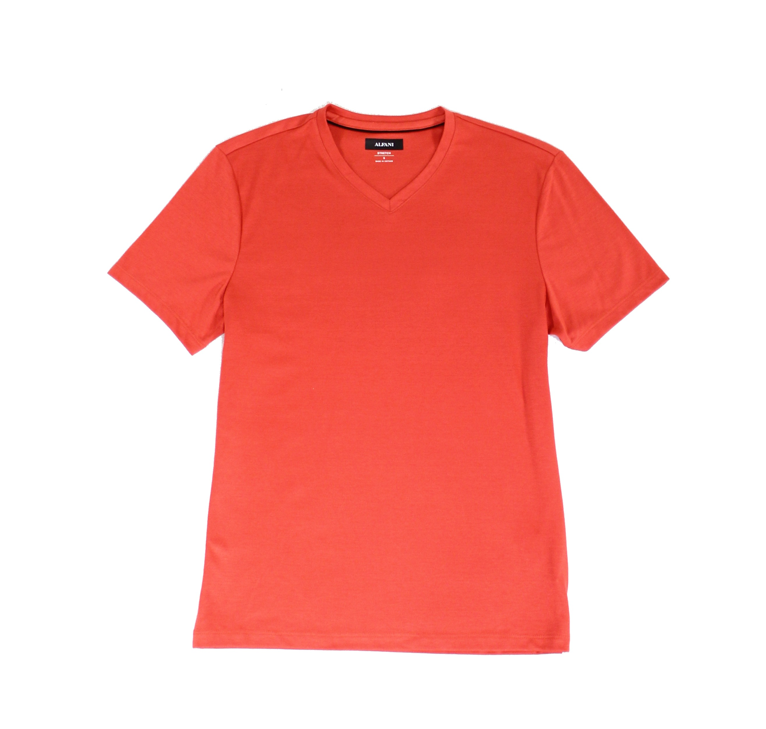 New-Alfani-Solid-Baked-Apple-Red-Mens-Size-XL-Stretch-V-Neck-Tee-Shirt-40-004