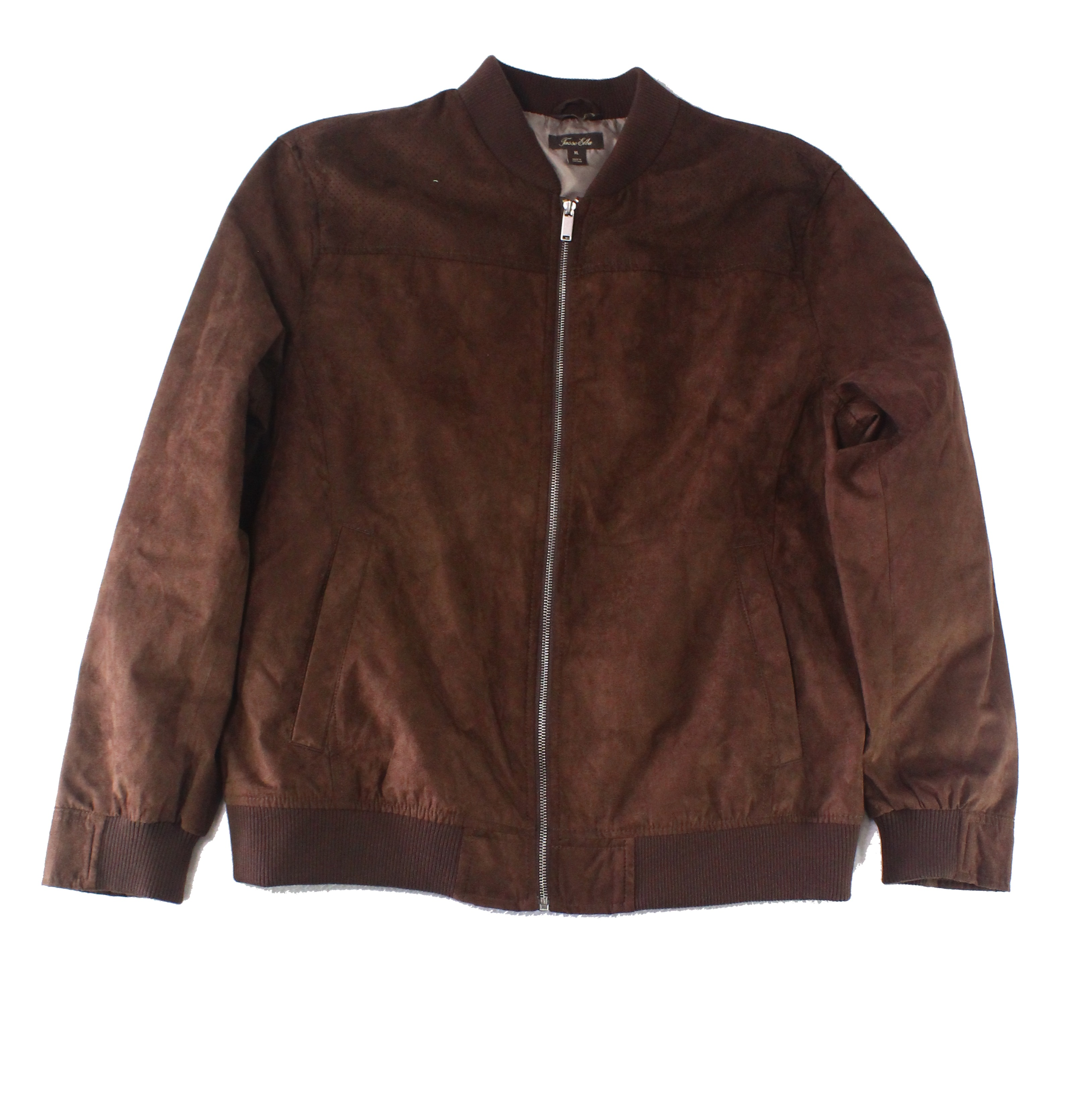 Tasso-Elba-Mens-Jacket-Brown-Size-Large-L-Full-Zip-Flight-Bomber