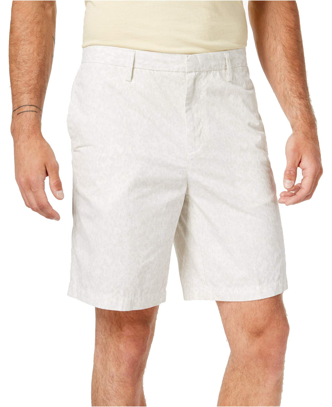 New-DKNY-NEW-Ivory-Mens-Size-38-Light-Stripe-Print-Relaxed-Chinos-Shorts-69-320