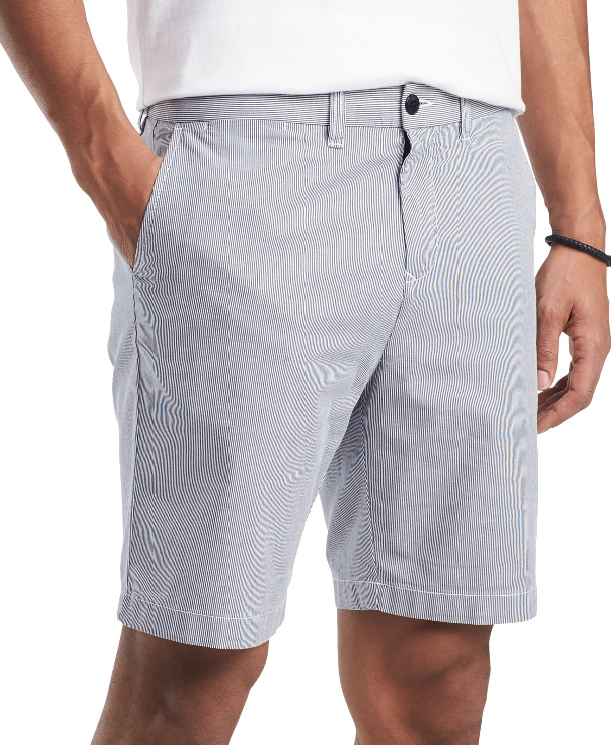 New-Tommy-Hilfiger-NEW-Blue-White-Mens-Size-34-Striped-Flat-Front-Shorts-49-324