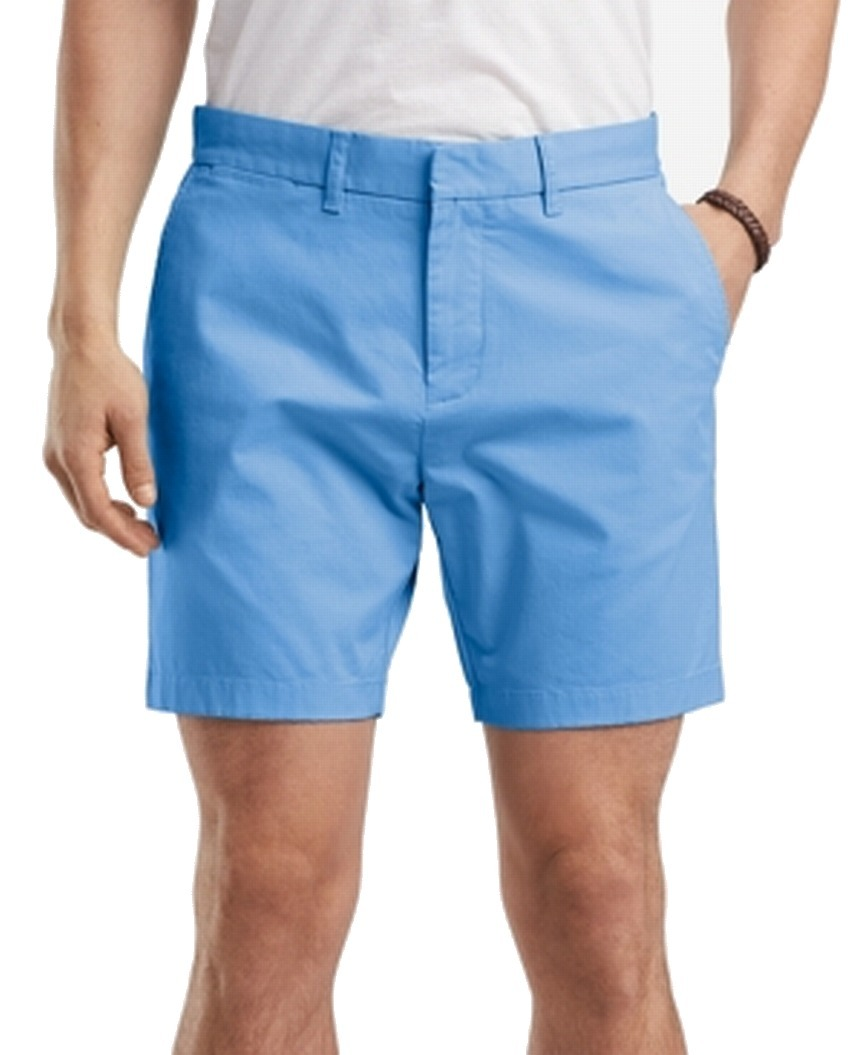 New-Tommy-Hilfiger-NEW-Blue-Mens-Size-34-Flat-Front-Khakis-Chinos-Shorts-49-333