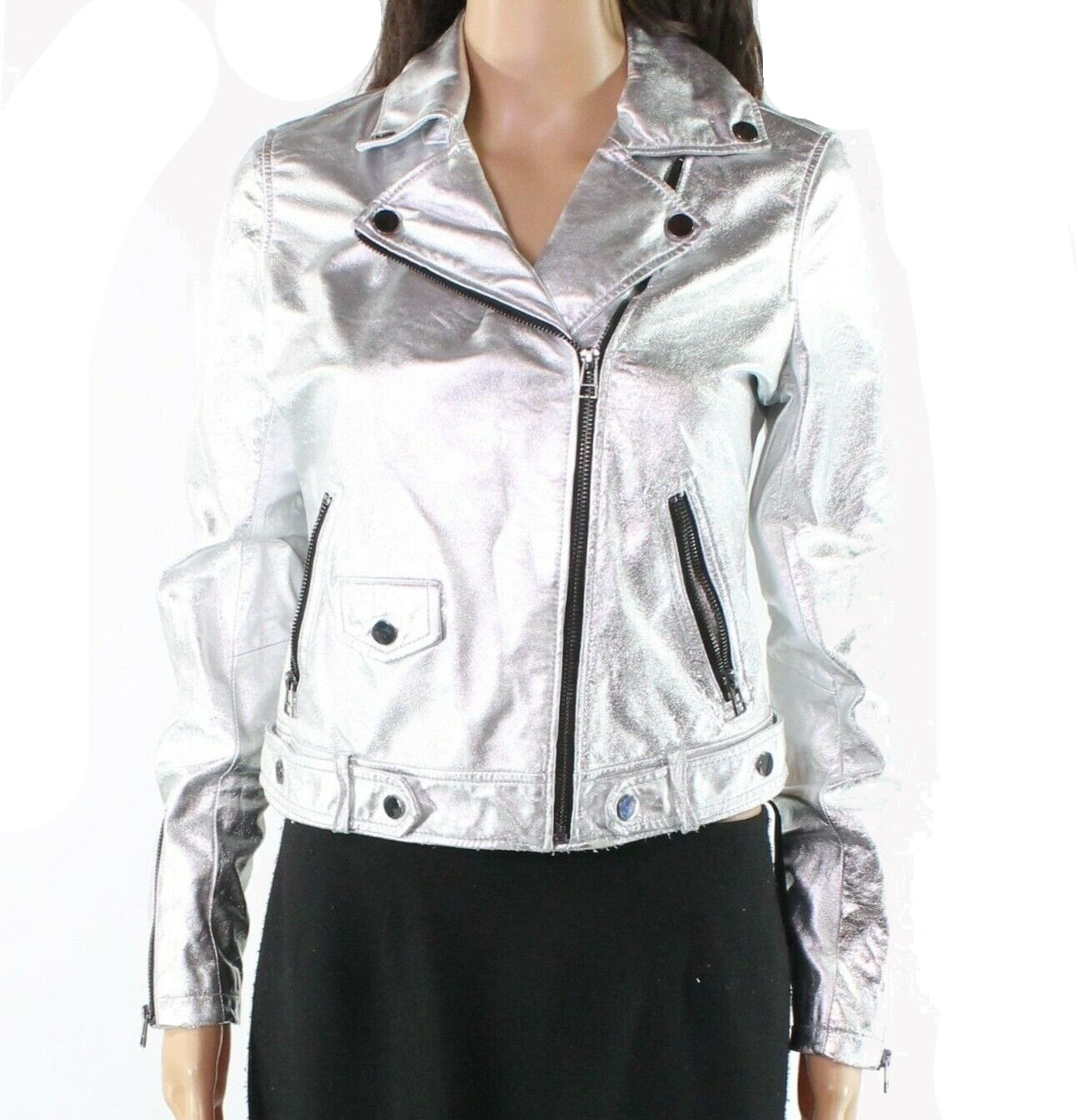 bc8ad54dc Details about Slate & Willow Womens Jacket Silver Size Small S Metallic  Moto Leather $695 #535