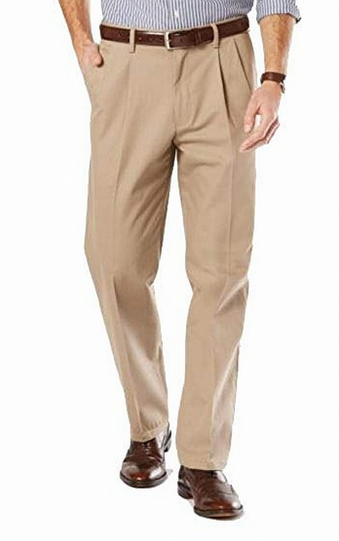 Dockers-Mens-Pants-Beige-Size-36X30-Pleated-Khakis-Chinos-Stretch