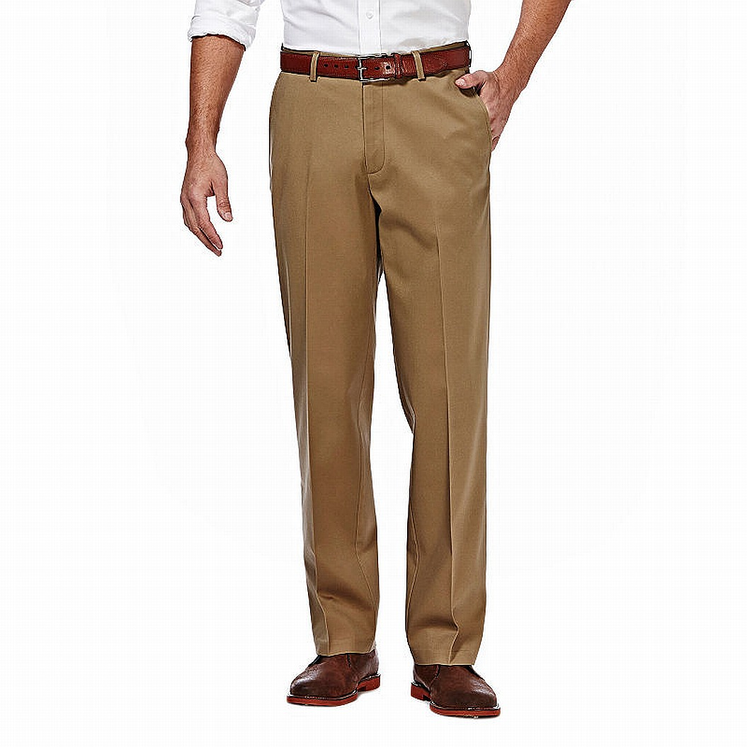 Haggar-Mens-Pants-Beige-Size-34X30-Straight-Fit-Khakis-Chinos-Stretch