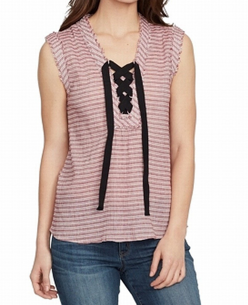 William-Rast-Women-039-s-Blouse-Red-Size-Medium-M-Lace-Up-Striped-Print