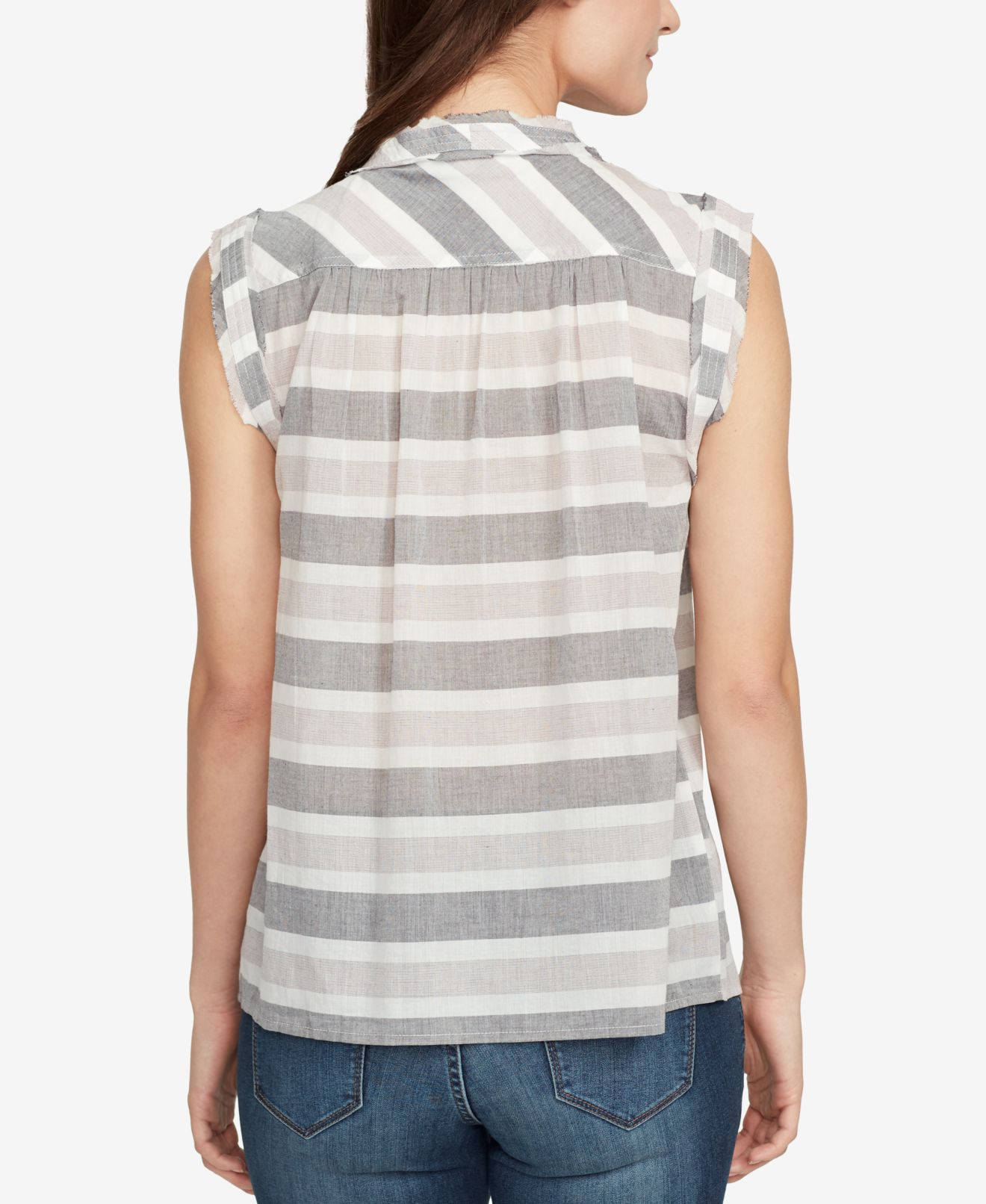 William-Rast-Pink-Gray-Women-039-s-Size-Medium-M-Striped-Lace-Up-Blouse thumbnail 2