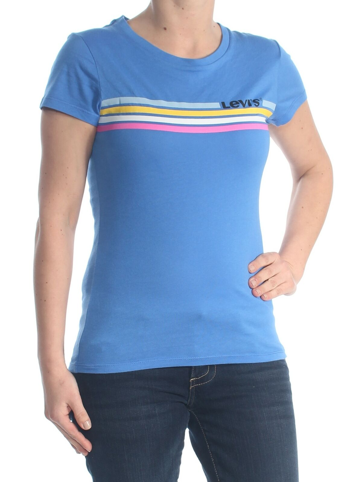 Levi-039-s-Women-039-s-Blue-Size-Small-S-Striped-Logo-Graphic-Print-Knit-Top