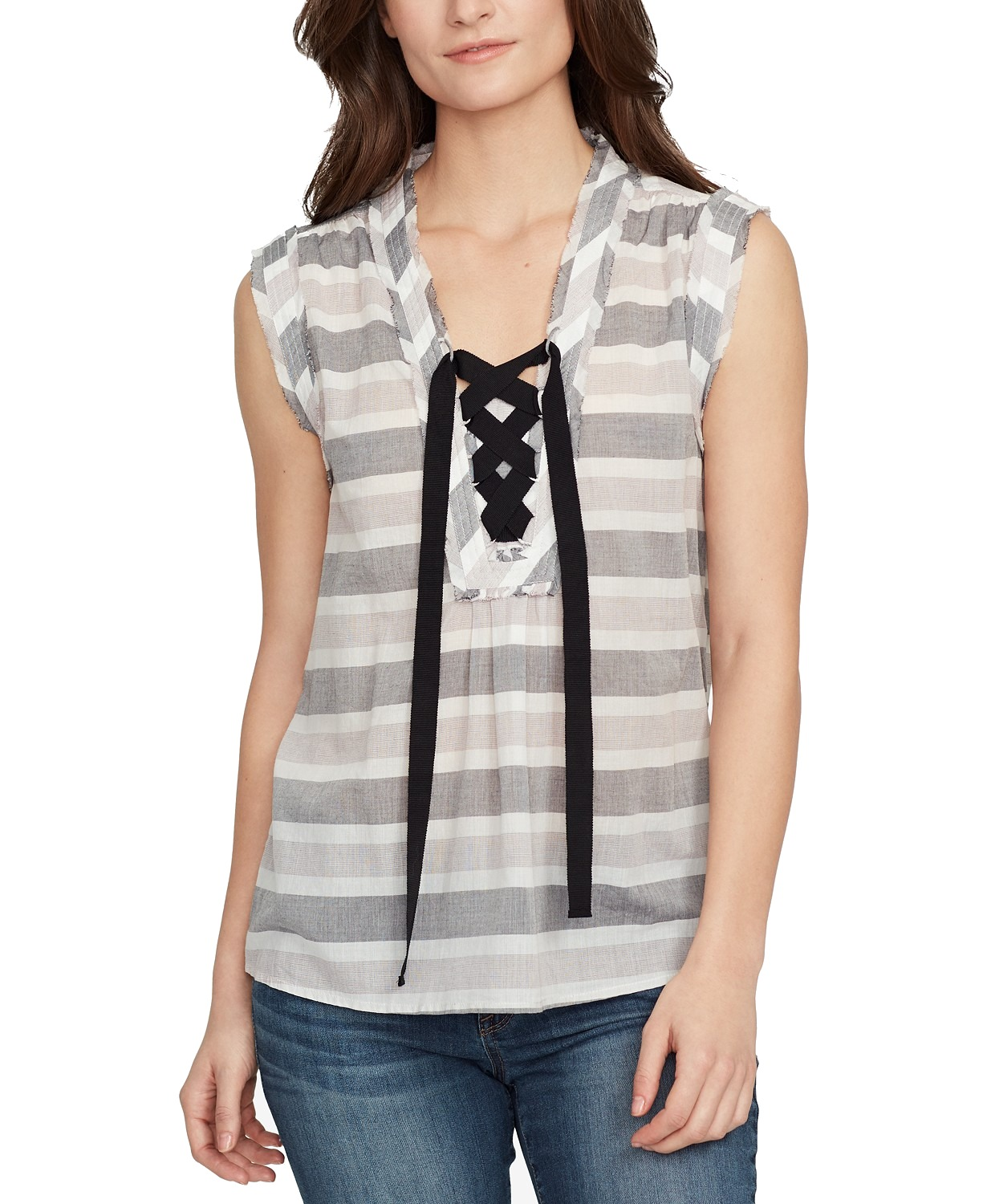 William-Rast-Women-039-s-Top-Blouse-Gray-Size-XXL-Lace-Up-Striped-Cotton