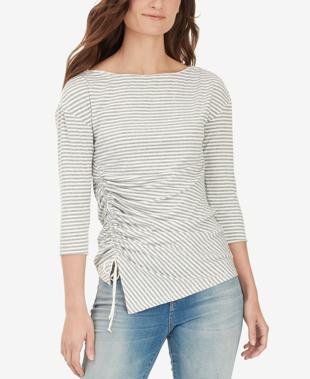 William-Rast-Women-039-s-Gray-Size-XS-Striped-Ribbed-Knit-Cinched-Blouse