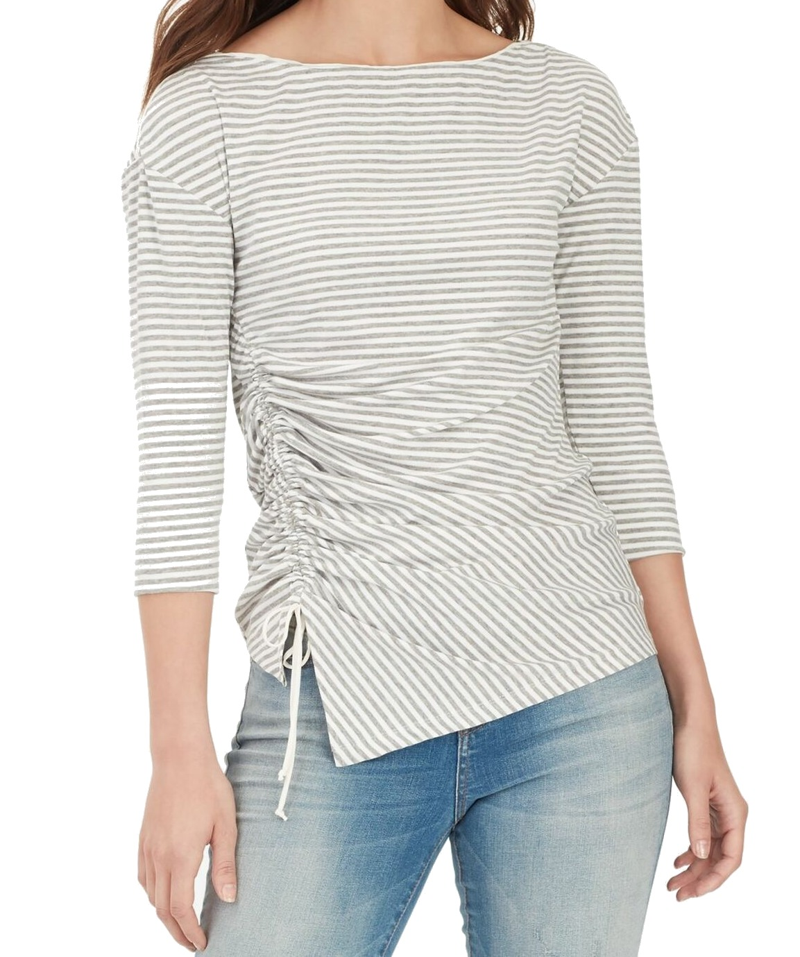 William-Rast-Women-039-s-Top-Blouse-Gray-Size-Large-L-Striped-Ruched