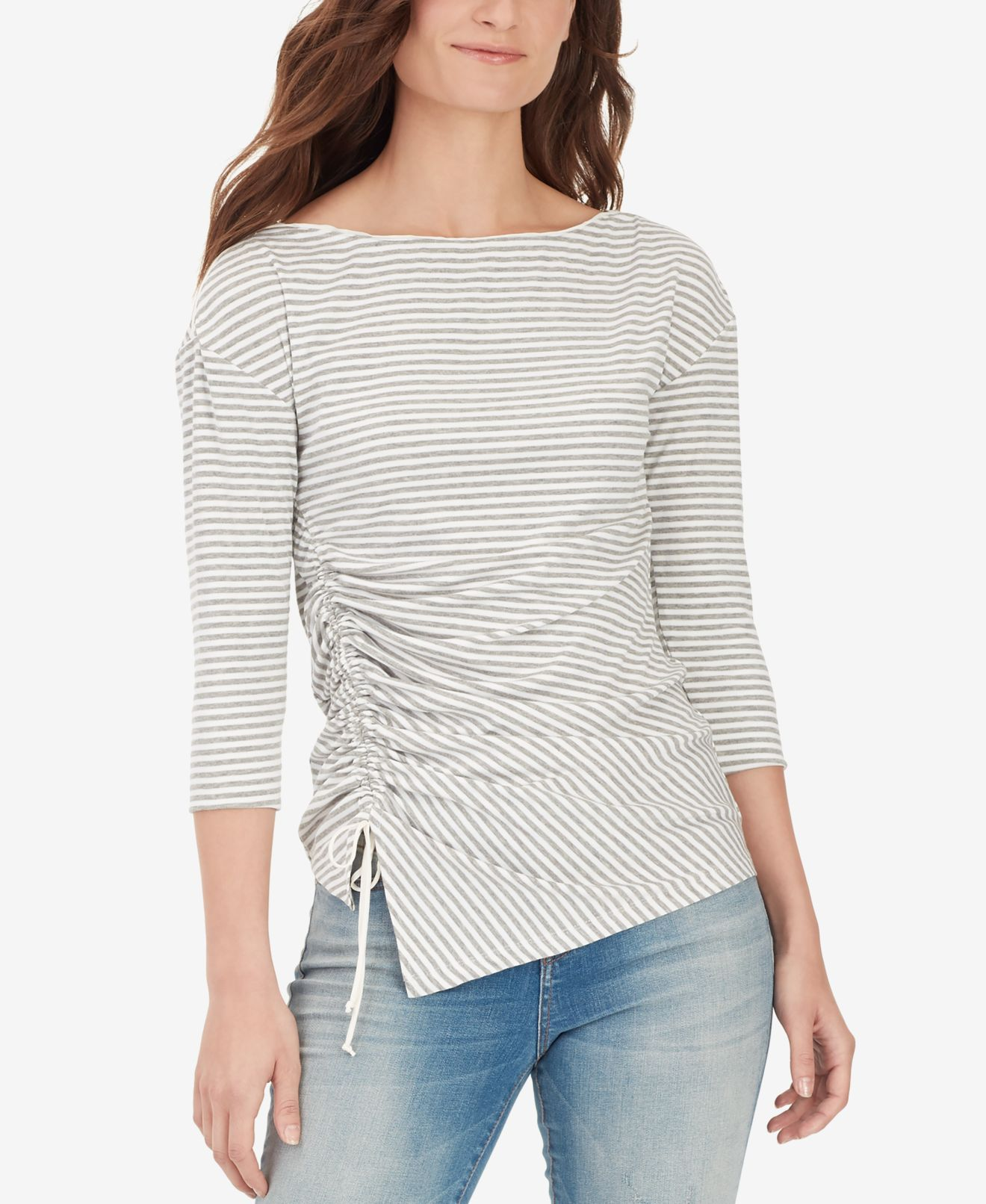 William-Rast-Women-039-s-Top-Blouse-Gray-Size-XL-Striped-Ribbed-Ruched