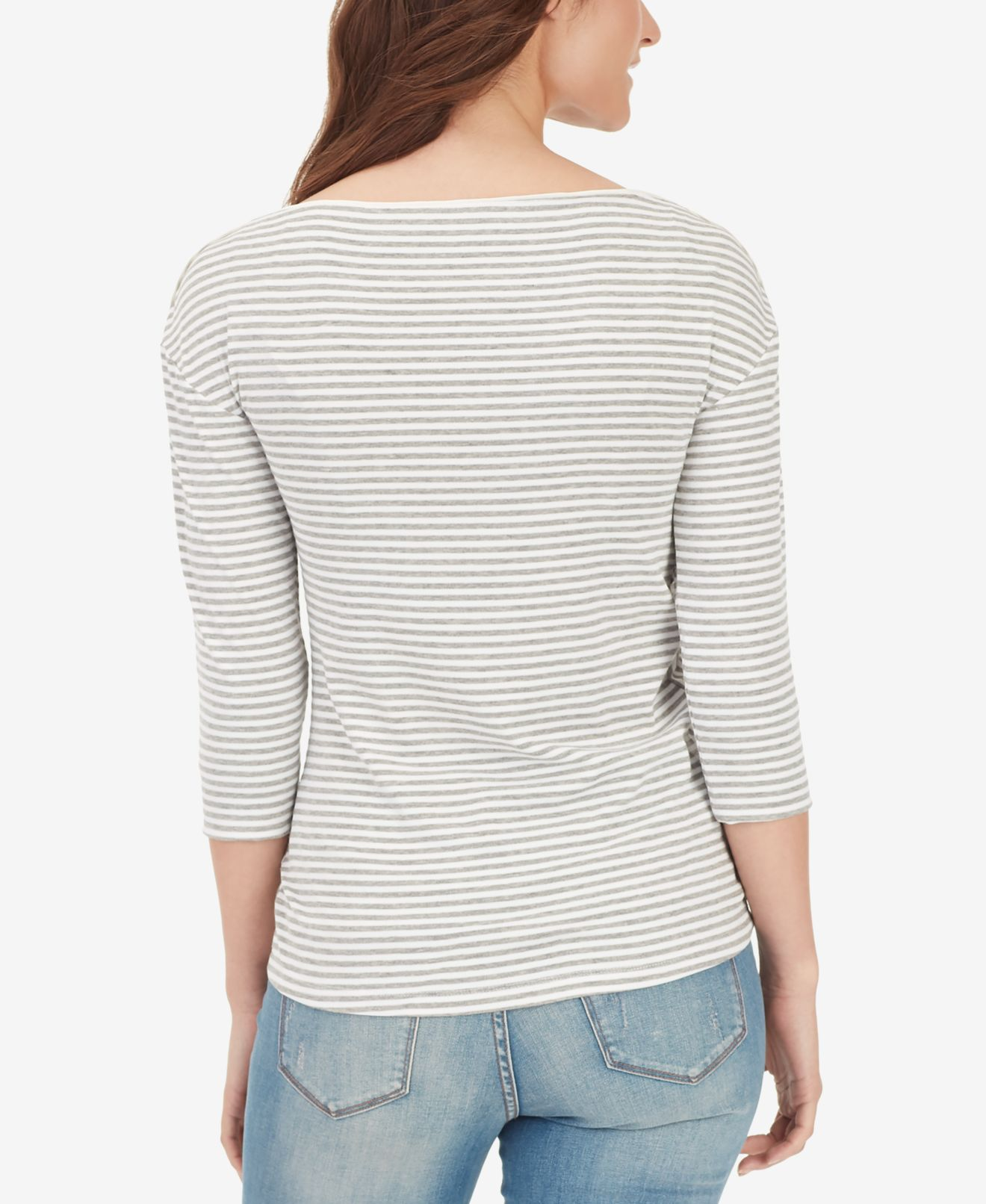 William-Rast-Women-039-s-Top-Blouse-Gray-Size-XL-Striped-Ribbed-Ruched thumbnail 2