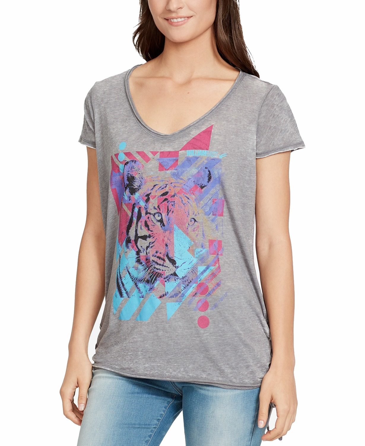 William-Rast-Women-039-s-Gray-Size-Medium-M-Tiger-Graphic-Print-Knit-Top