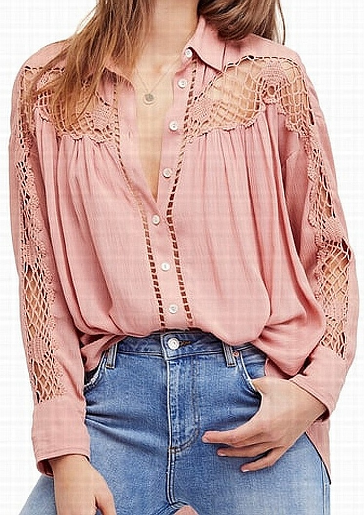 Free-People-Women-039-s-Pink-Size-Small-S-Lace-Inset-Button-Down-Blouse