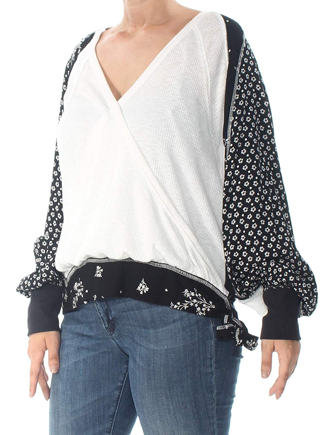 Free-People-Women-039-s-White-Size-Small-S-Floral-Thermal-Knit-Blouse
