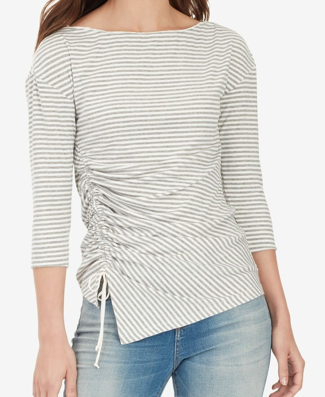 William-Rast-Women-039-s-Top-Blouse-Gray-Size-Medium-M-Striped-Ruched