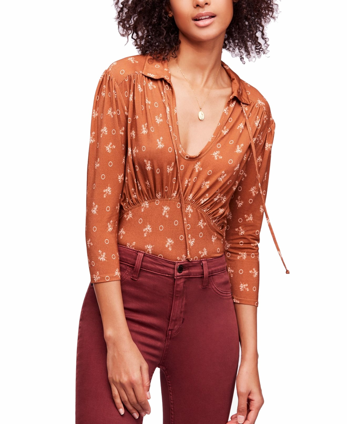Free-People-Women-039-s-Blouse-Brown-Size-Small-S-Knit-Floral-Cutout