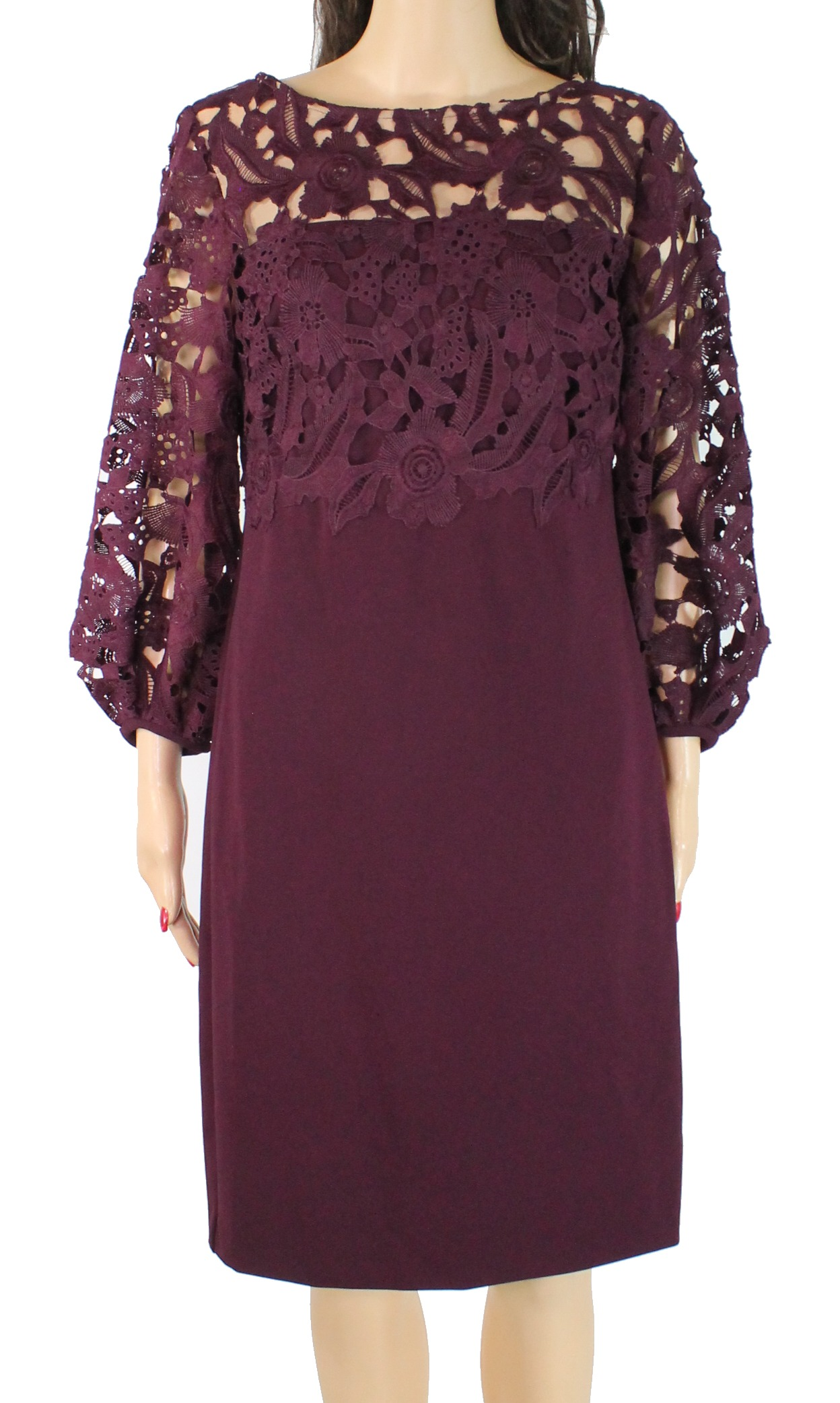 Ny Lauren av Ralph Lauren Kvinnor's Dress lila Storlek 8 Sheath Lace 185