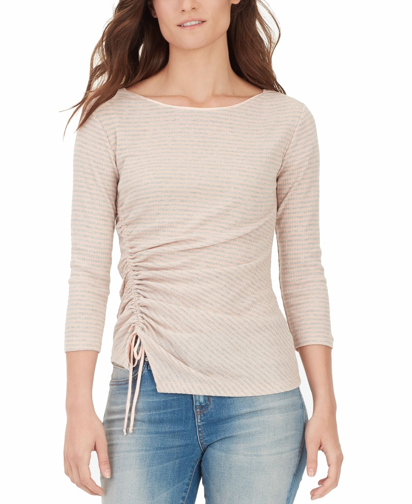 William-Rast-Women-039-s-Top-Blouse-Pink-Size-Medium-M-Ruched-Striped