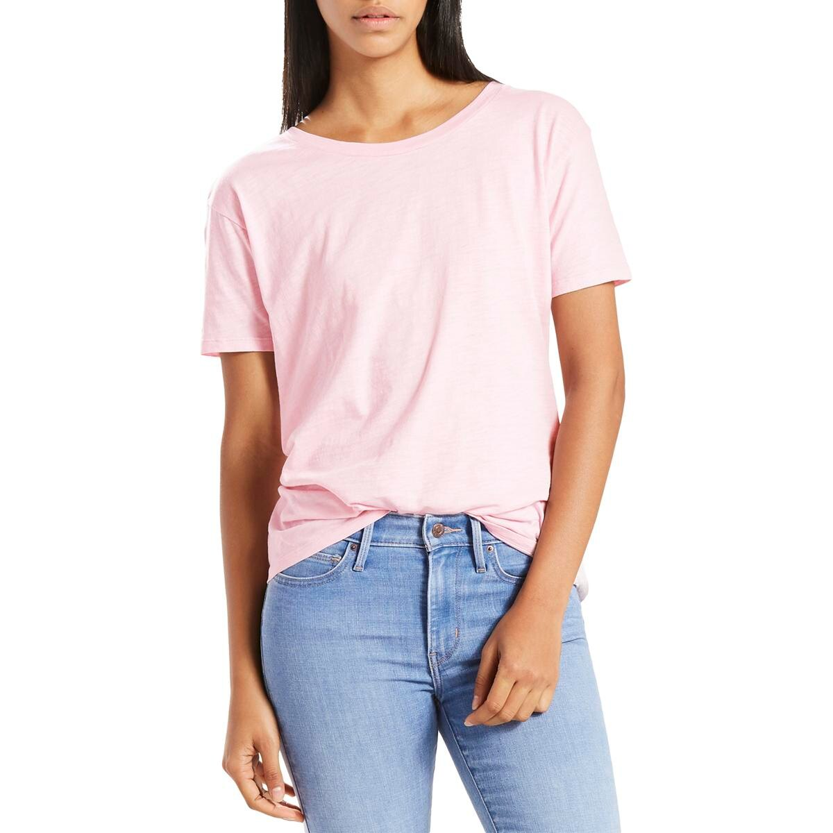 Levi-039-s-Women-039-s-Top-Blouse-Pink-Size-Small-S-Knit-Tee-Tie-Back-T-Shirt-346