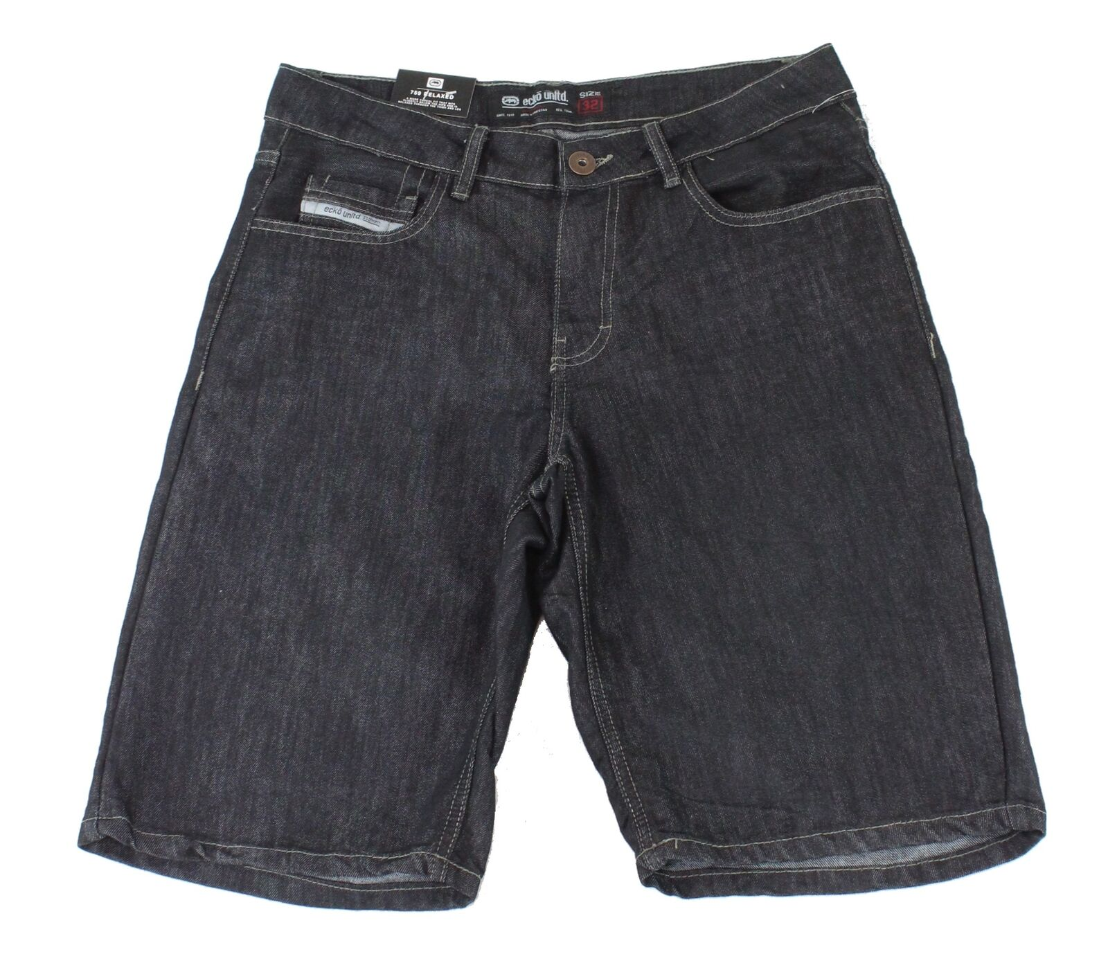 New-Ecko-Unltd-Mens-Shorts-Blue-Size-38-Denim-759-Relaxed-Fit-Embossed-48-148