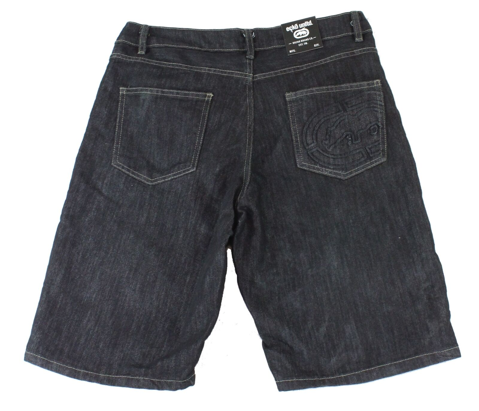 New-Ecko-Unltd-Mens-Shorts-Blue-Size-38-Denim-759-Relaxed-Fit-Embossed-48-148 thumbnail 2