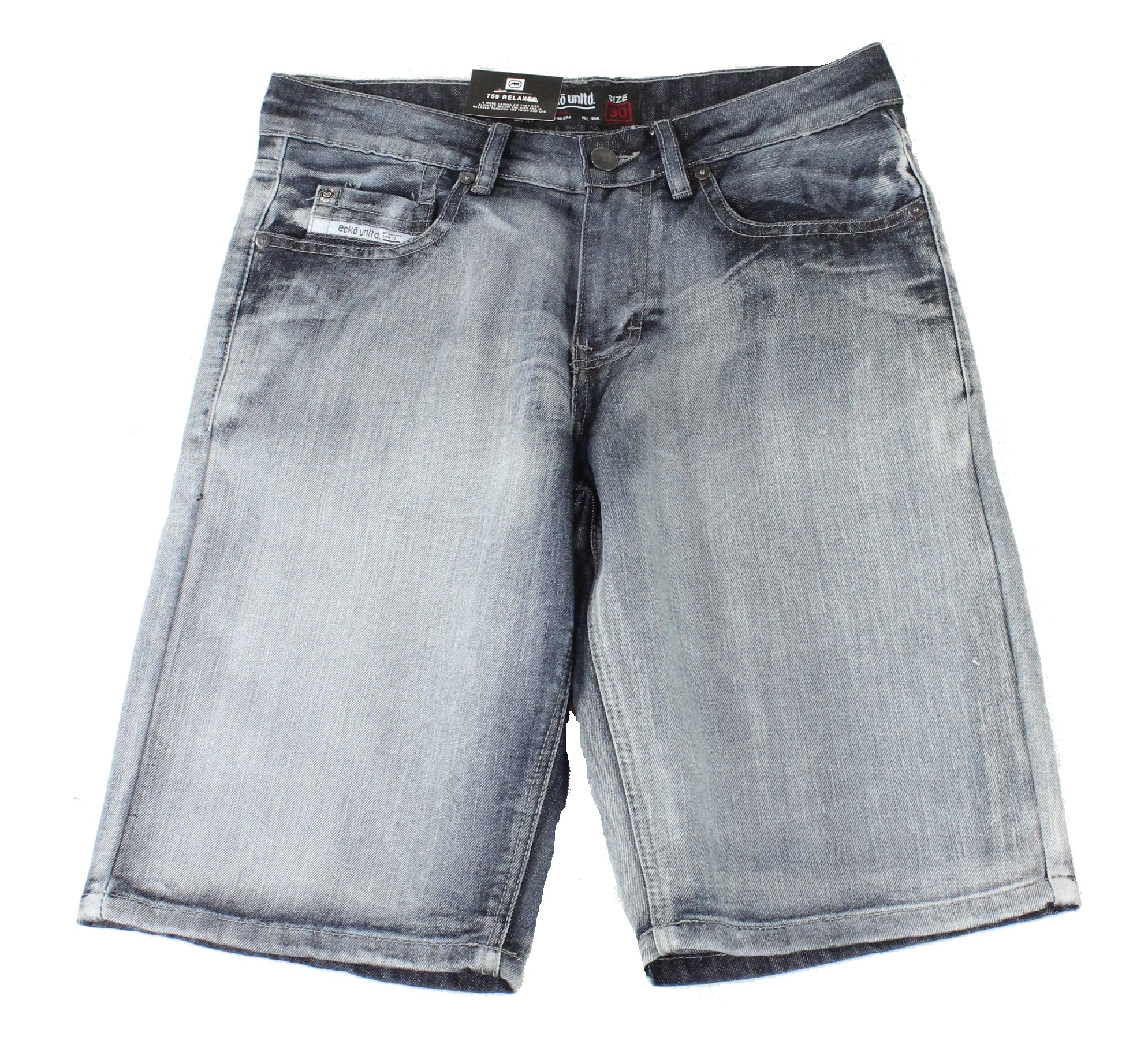 New-Ecko-Unltd-Mens-Shorts-Blue-Size-38-Denim-759-Relaxed-Logo-Embossed-39-174