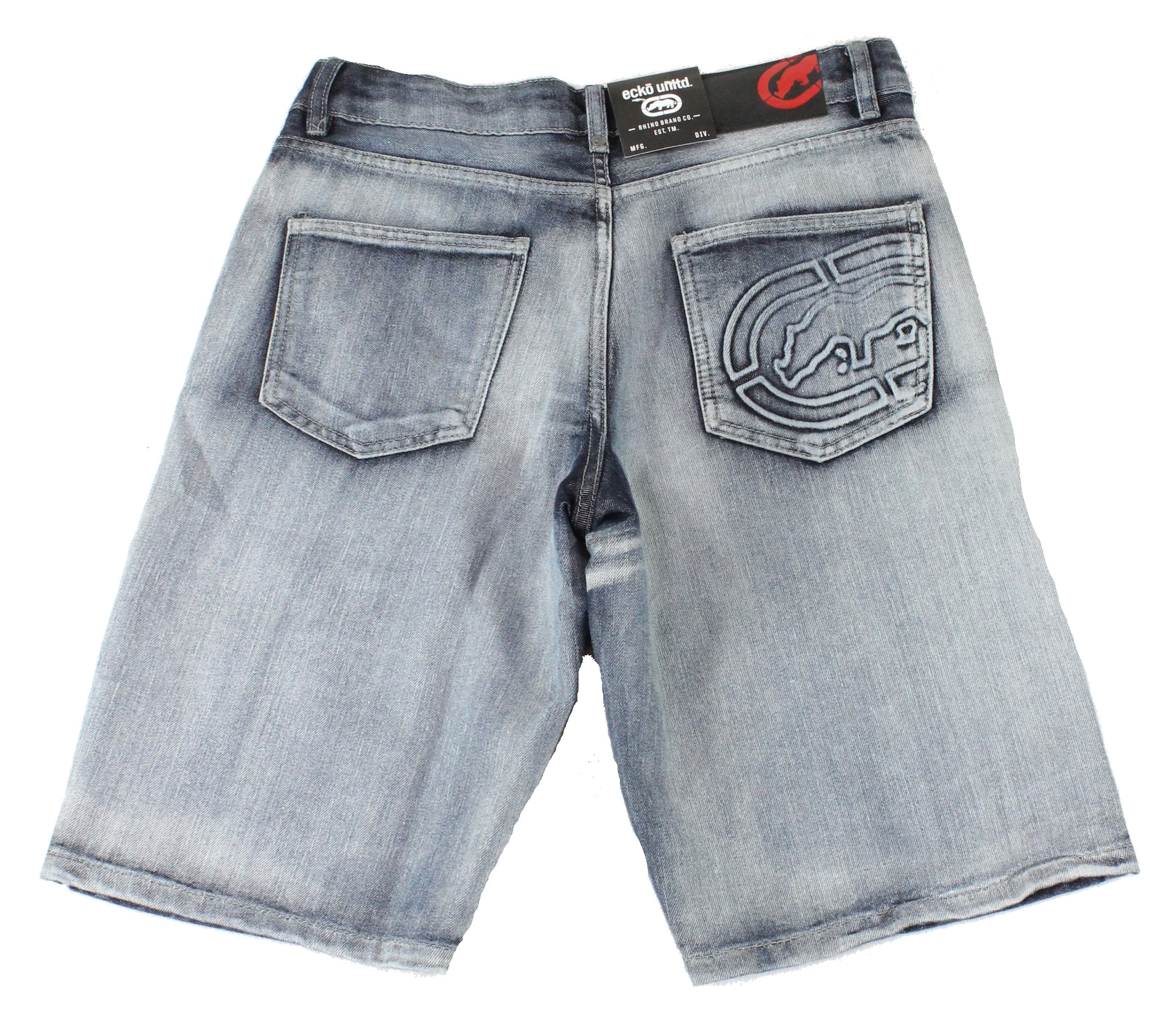 New-Ecko-Unltd-Mens-Shorts-Blue-Size-38-Denim-759-Relaxed-Logo-Embossed-39-174 thumbnail 2