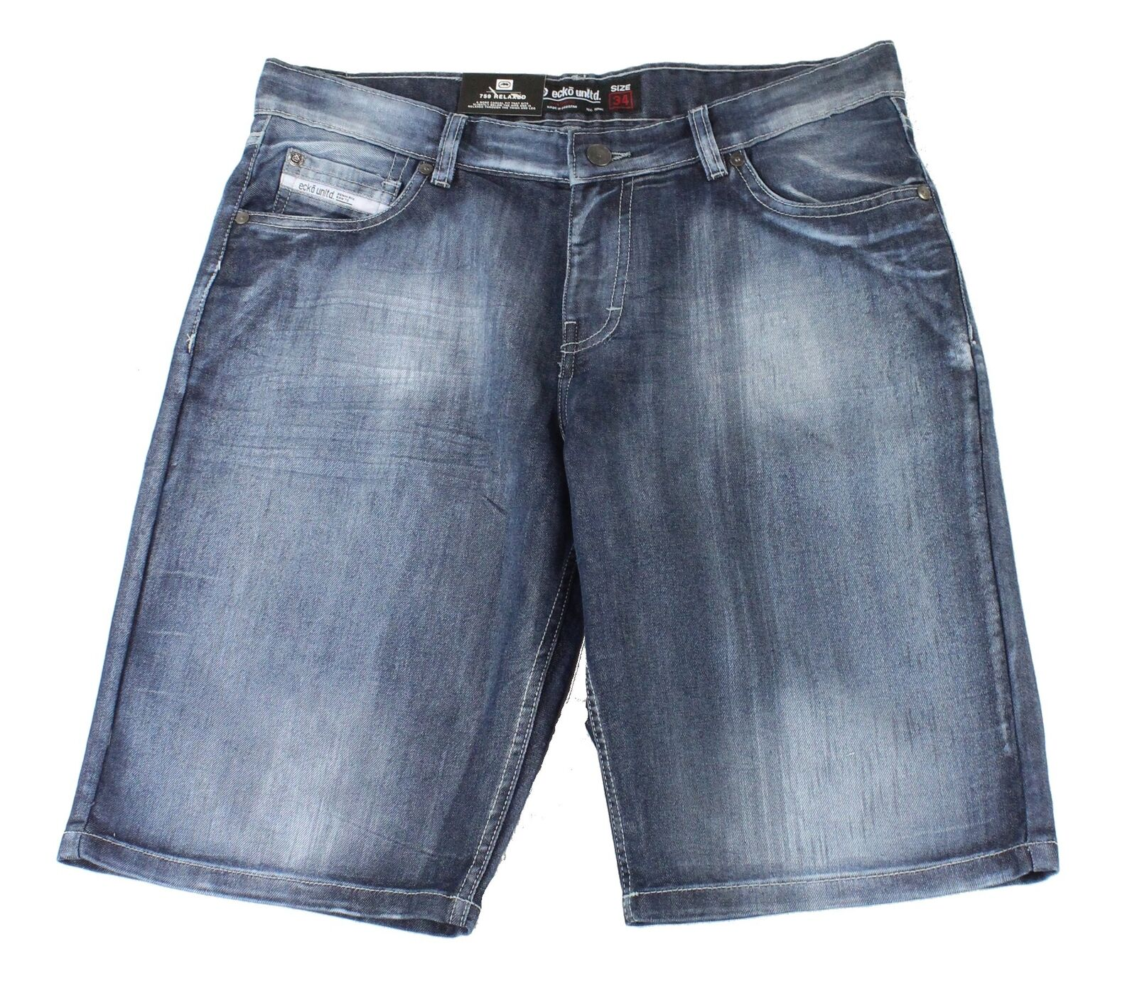New-Ecko-Unltd-Mens-Shorts-Blue-Size-36-Denim-759-Relaxed-Fit-Washed-48-194