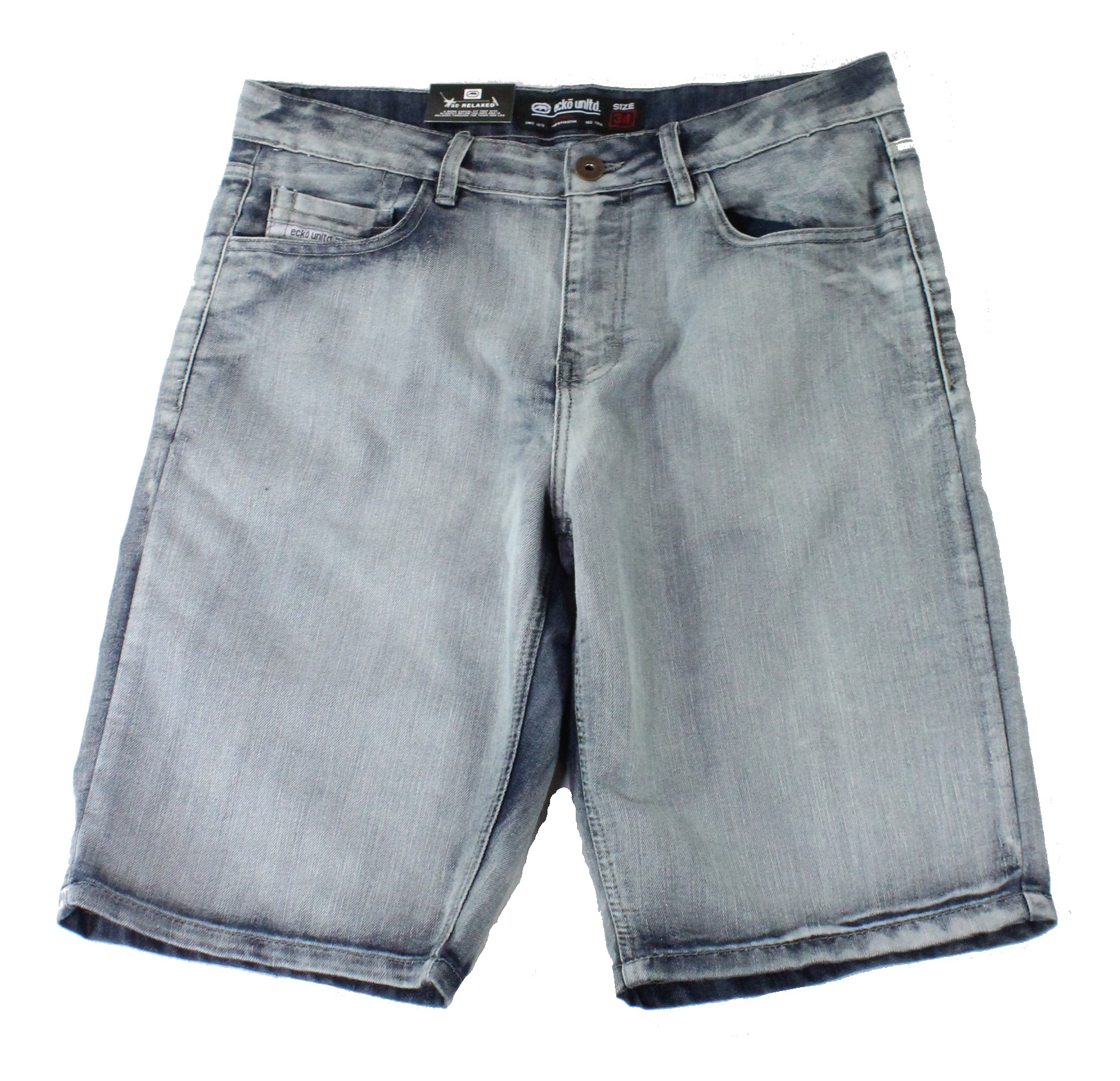 New-Ecko-Unltd-Mens-Shorts-Washed-Blue-Size-34-Denim-759-Relaxed-Fit-48-209